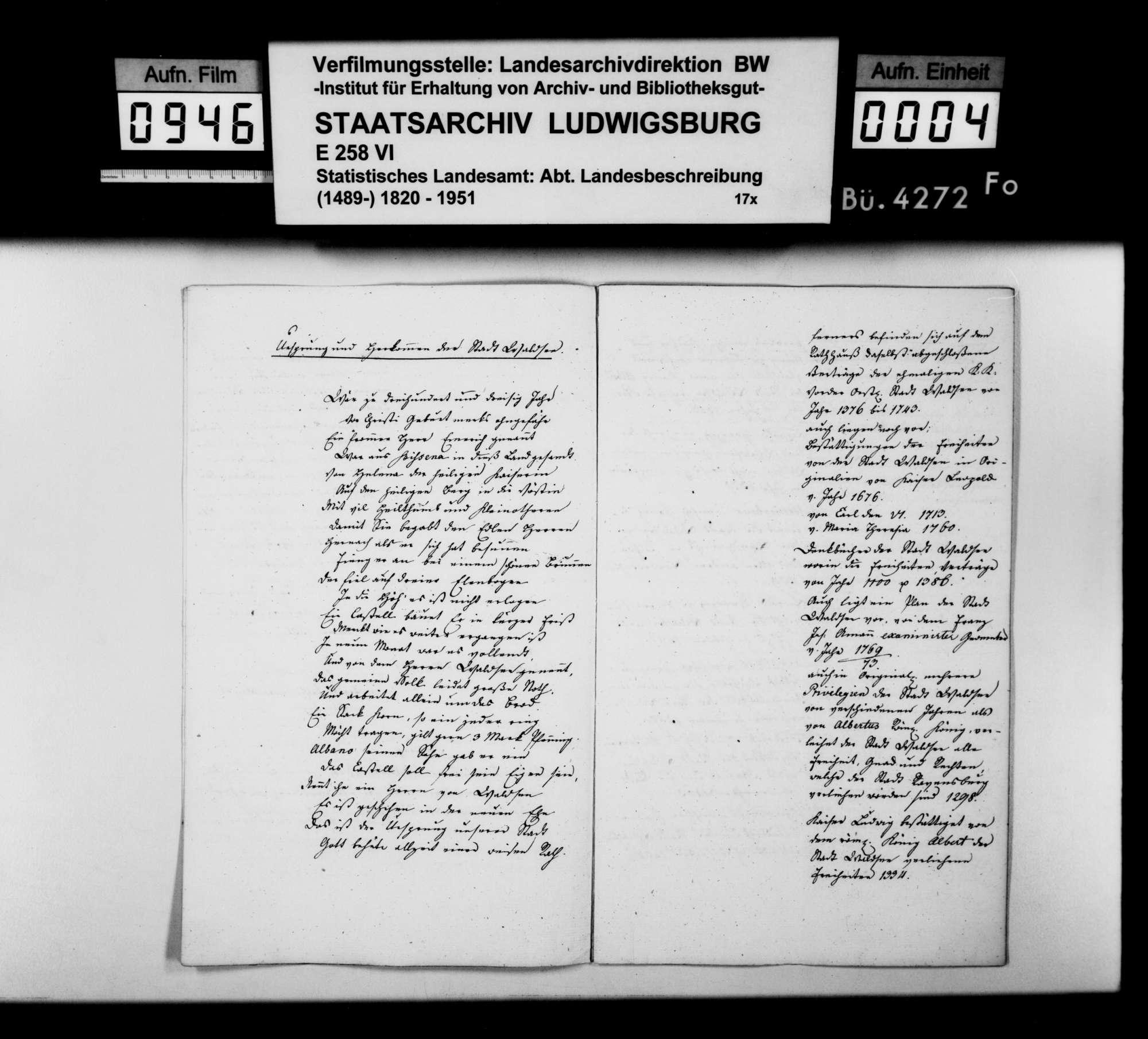 Kopien und Auszüge des gewesenen Stadtsyndikus von Frast zur mittelalterlichen Geschichte der Stadt Waldsee und Liste der Flora der Umgebung, Bild 3
