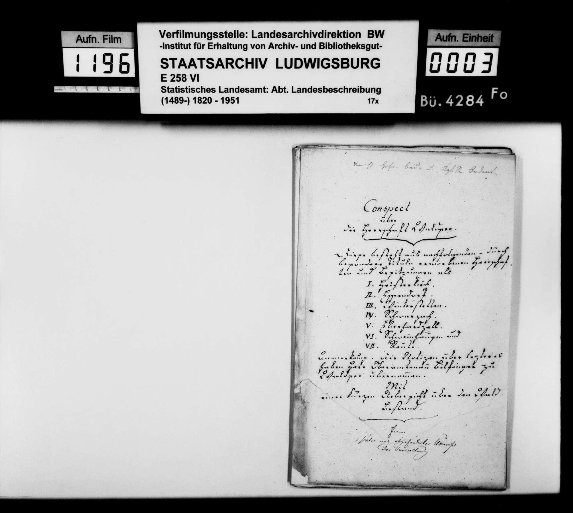 Beschreibung der ehemaligen Herrschaft Waldsee, von Hofrat Baur und Archivar Bodent aus Wolfegg, Bild 1