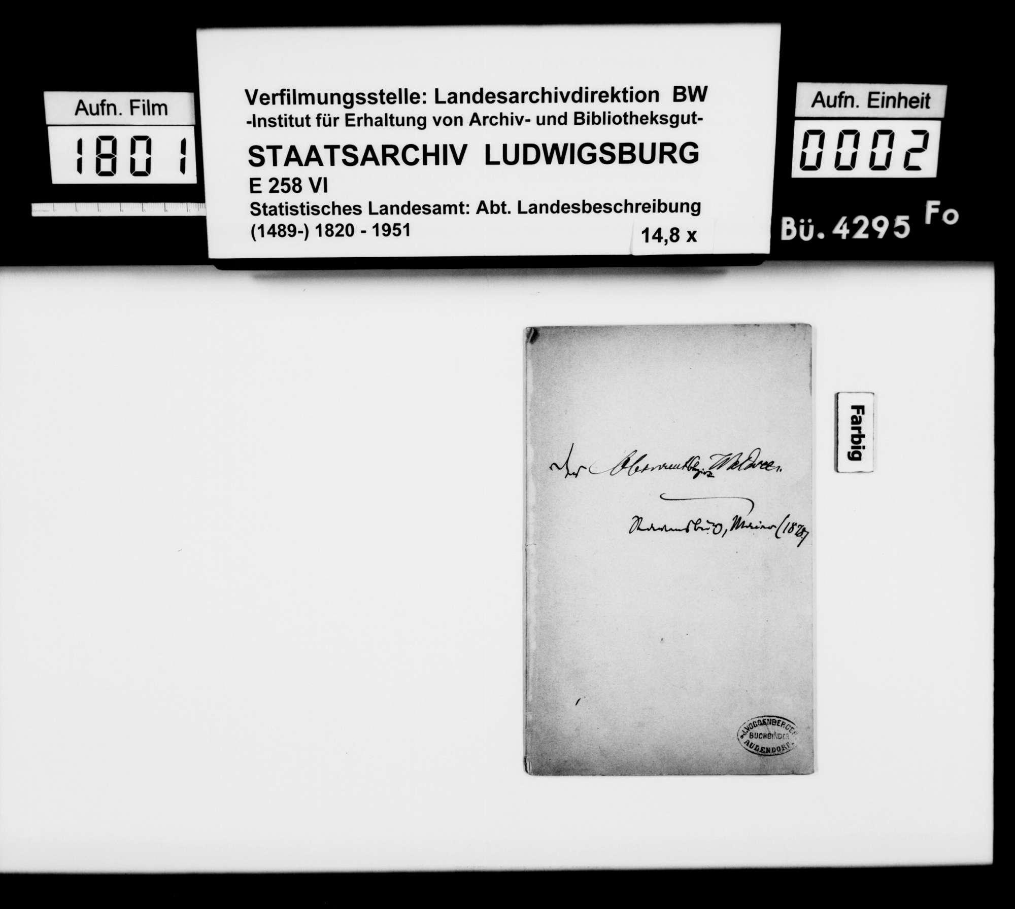Sammlung von Drucken für eine Neubearbeitung der OAB, Bild 1