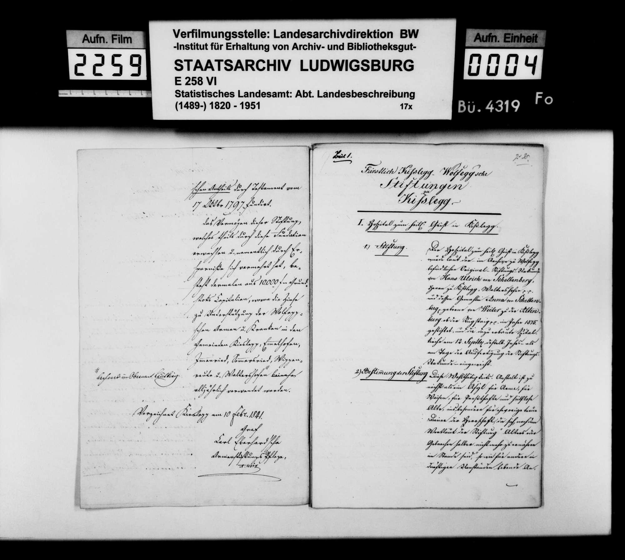 Beschreibung verschiedener Stiftungen unter fürstlich Waldburg