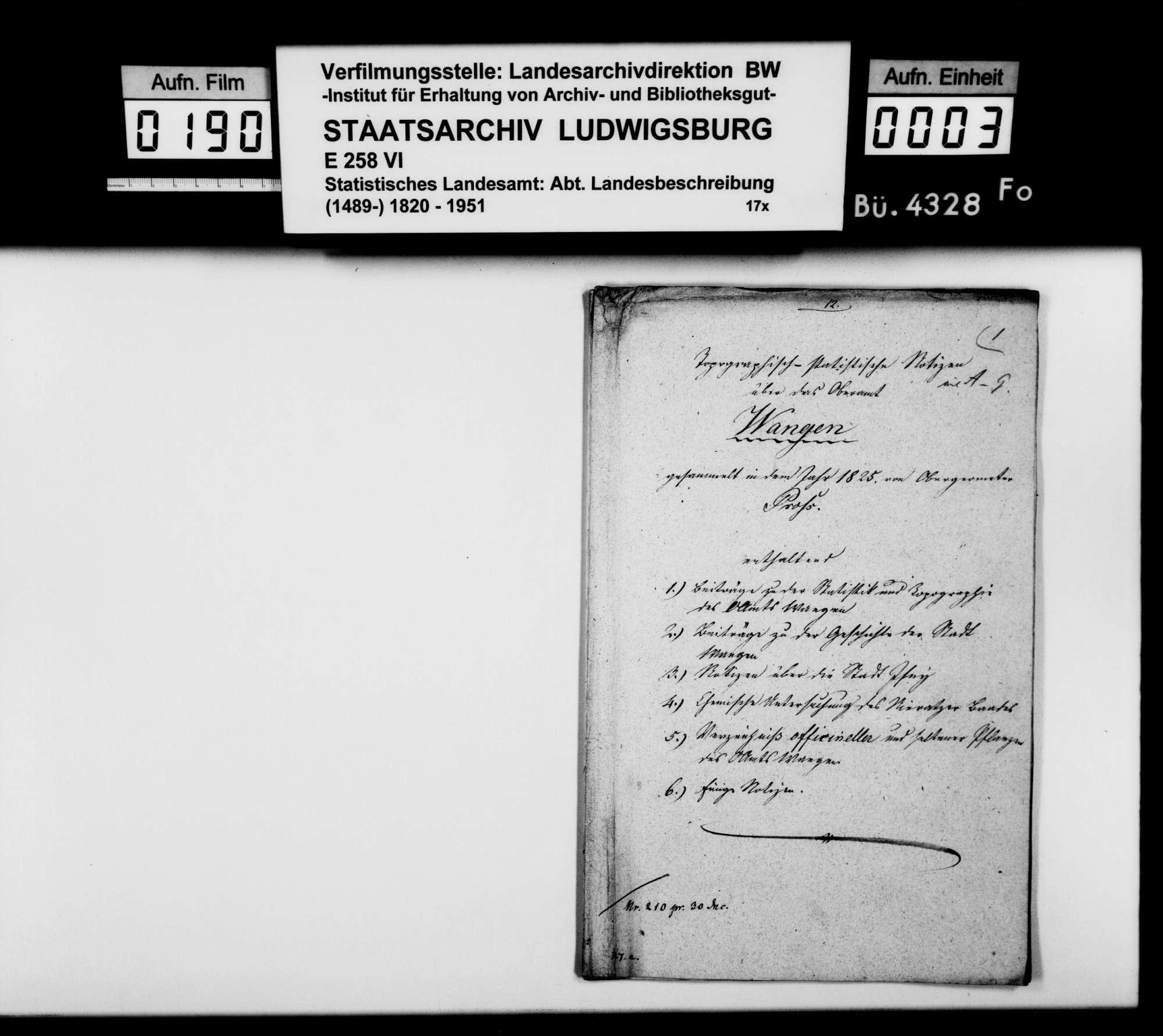 Beiträge des Obergeometers [Friedrich?] Pross zur Beschreibung des Oberamts, Bild 1