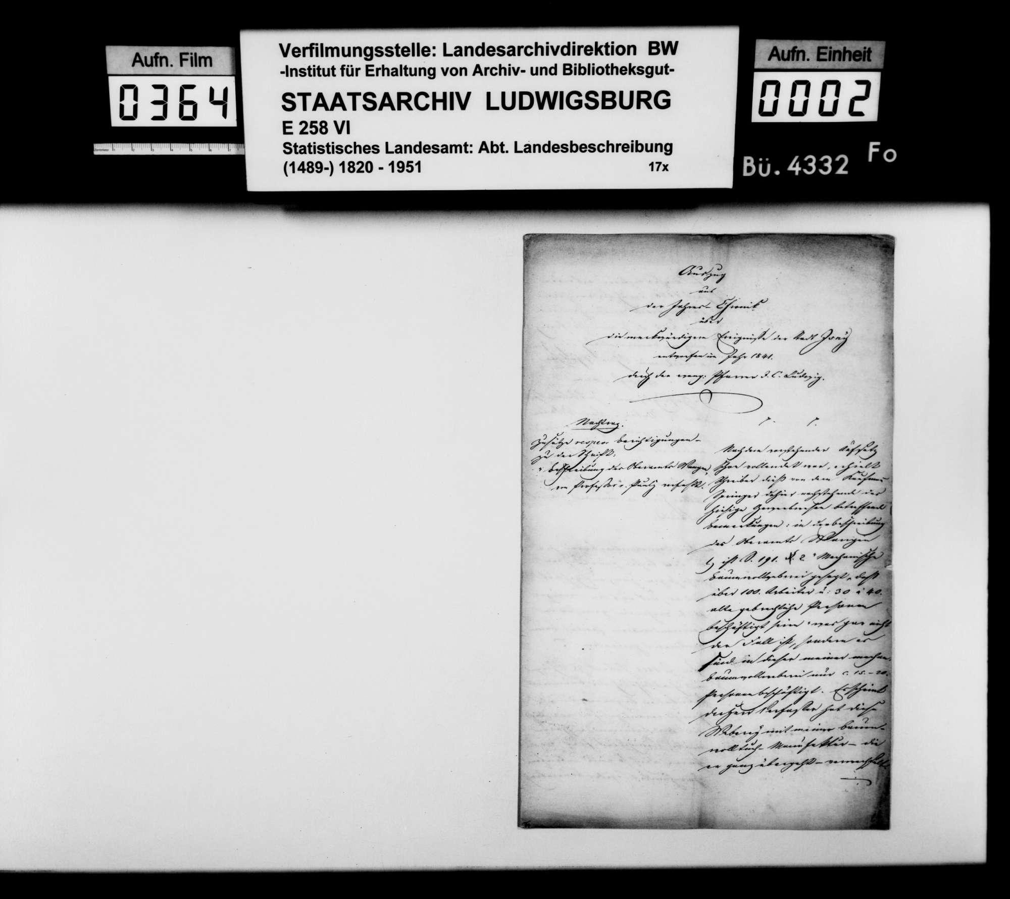 Übermittlung von Beanstandungen des Kaufmanns [Christoph] Springer aus Isny zu den Seiten 191f der OAB durch Pfarrer J.C. Ludwig, Bild 1