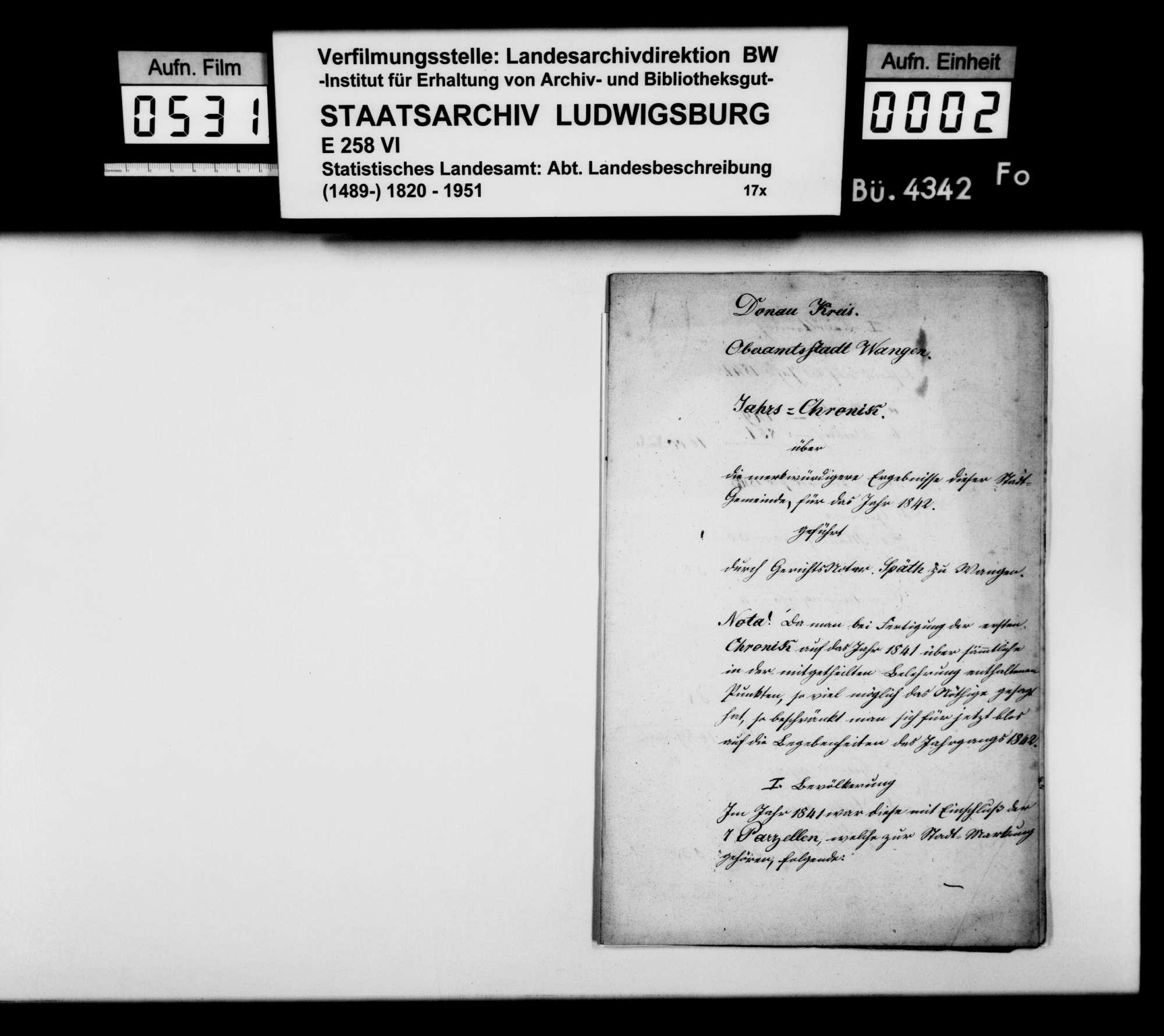 Jahreschronik der Oberamtsstadt Wangen für 1842, von Gerichtsnotar Späth, Bild 1