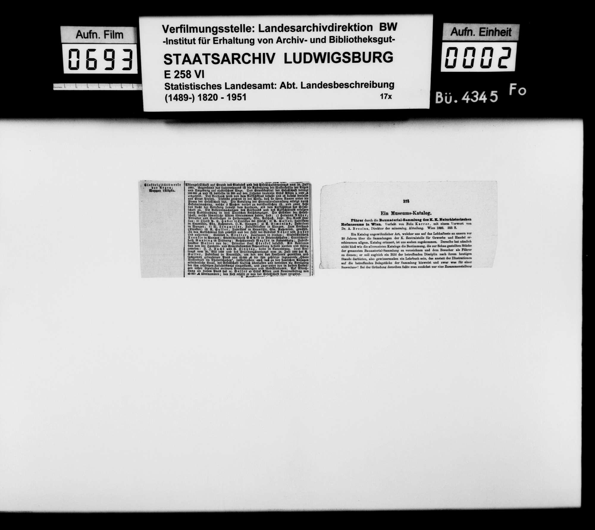 Sammlung gedruckten Materials zu einer Neubearbeitung der OAB, Bild 1