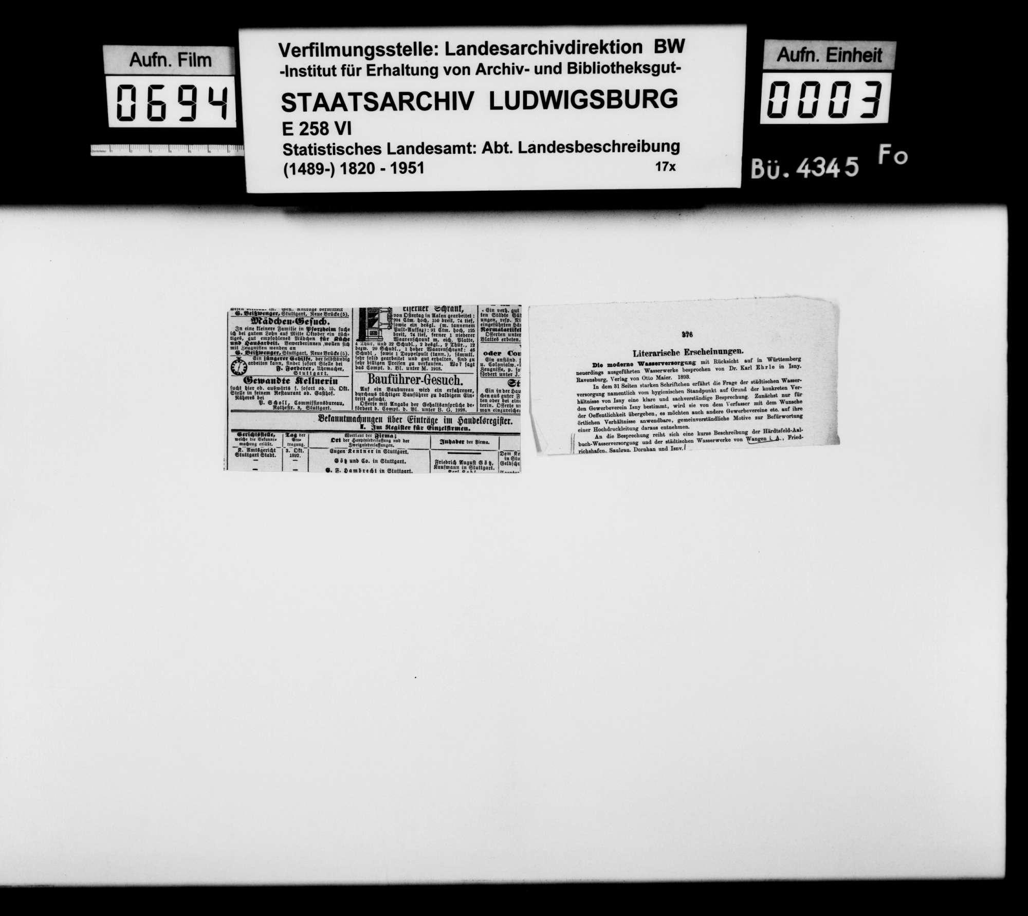 Sammlung gedruckten Materials zu einer Neubearbeitung der OAB, Bild 2