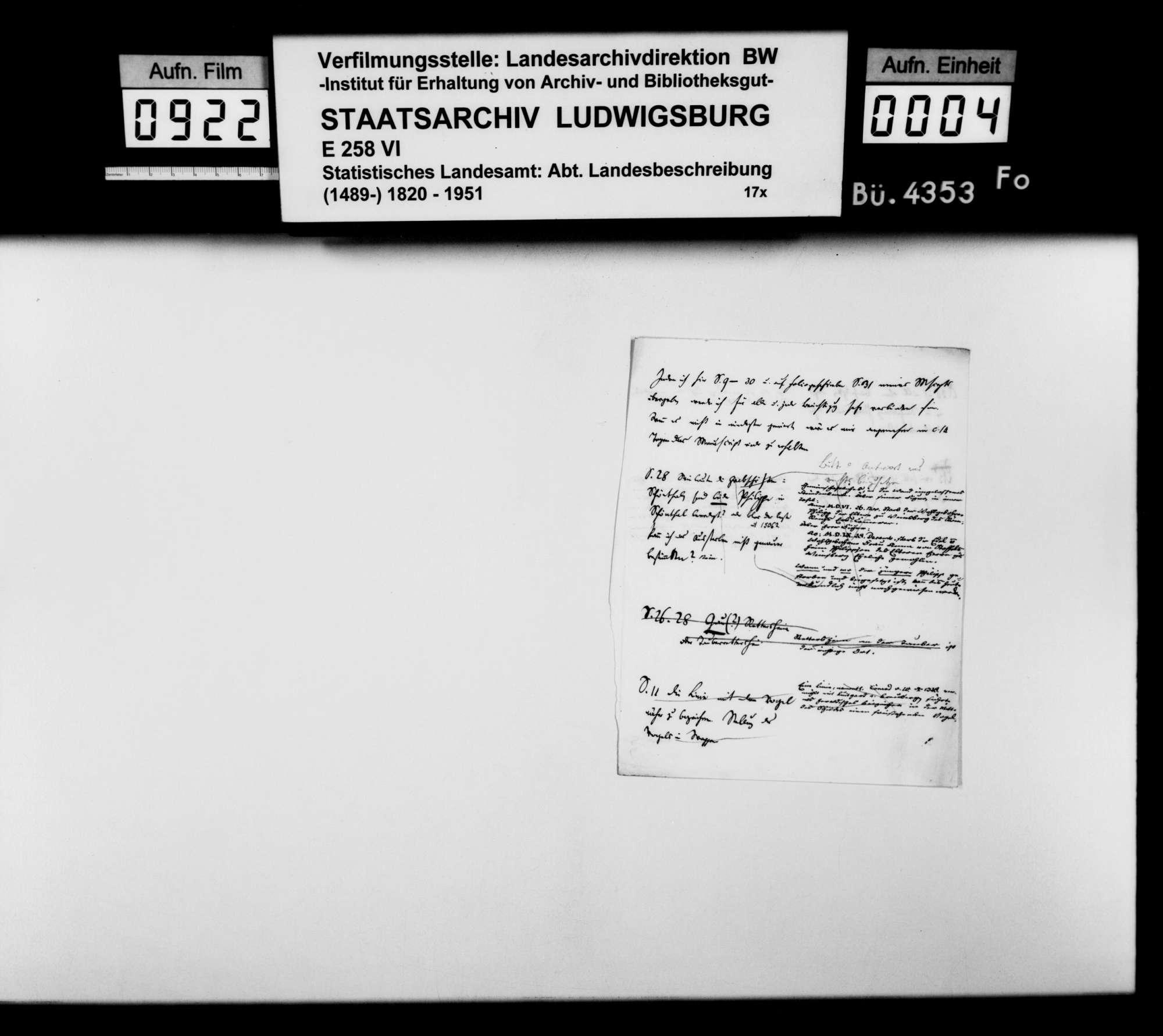 Notizen, genealogische Tafeln, Korrespondenz und Kurzregesten [des Oberstudienrats Christoph Friedrich Stälin, des Weinsberger Dekans a.D. Dillenius und anderer] zur mittelalterlichen Geschichte im Oberamtsbezirk, Bild 3