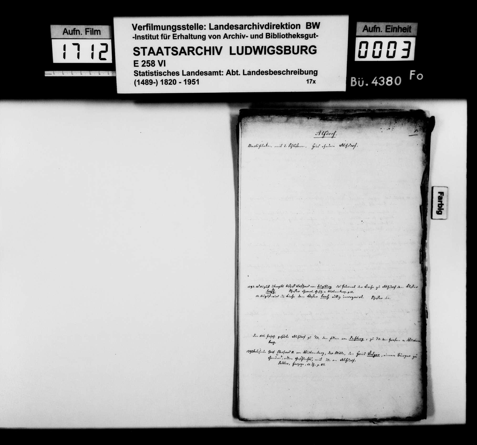Kollektaneen des Rechtskonsulenten [Karl] von Alberti zum Adel und zu Schlössern, Burgen und Ruinen im Oberamt, Bild 2
