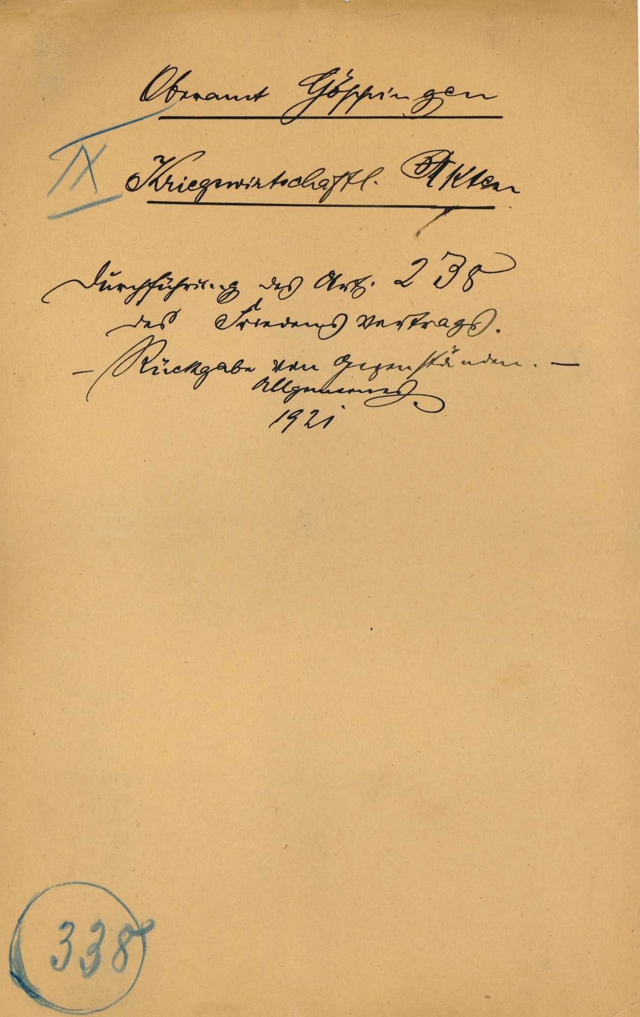 Durchführung des Art. 238 des Friedensvertrages; Rückgabe von Gegenständen; Allgemeines, Bild 1