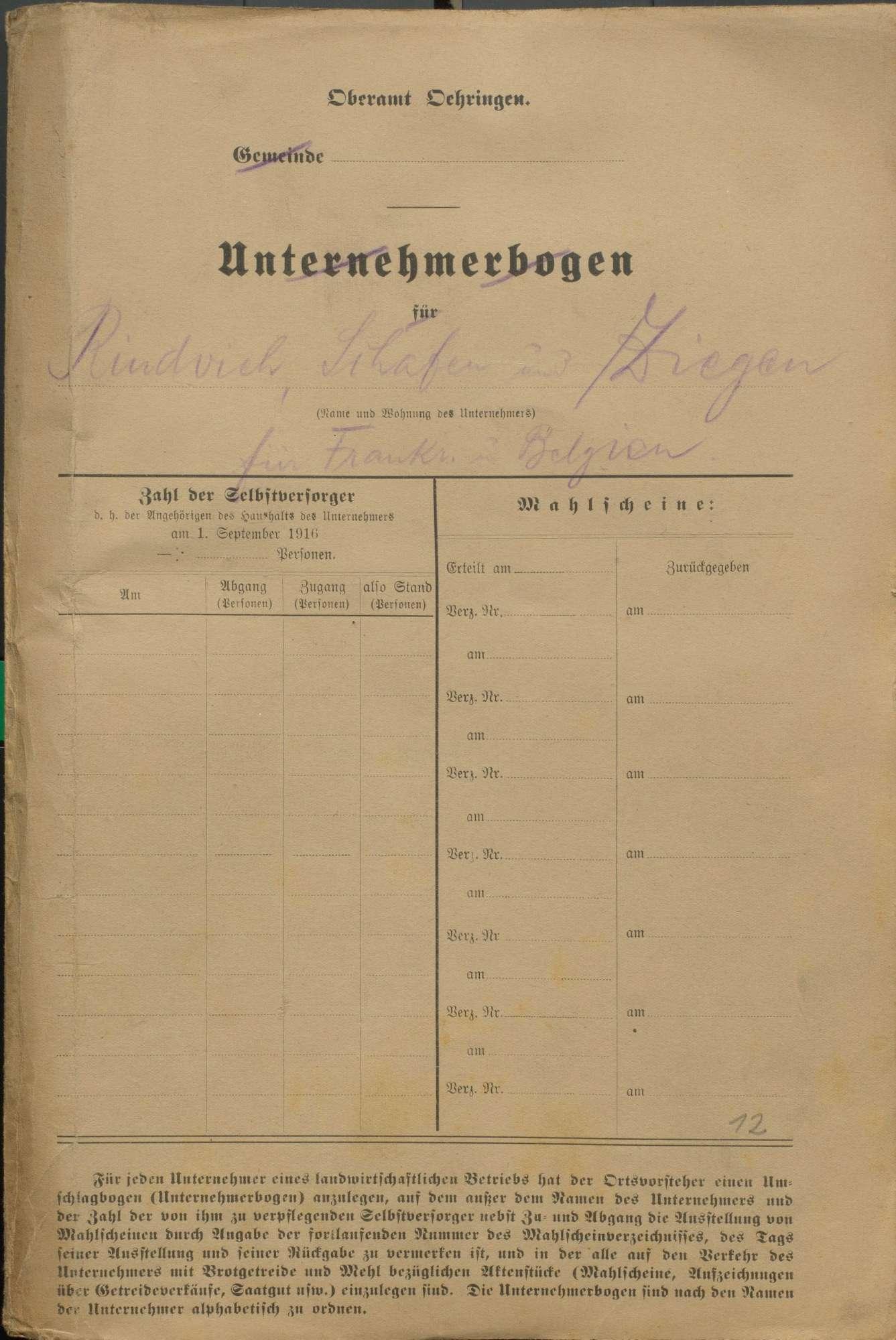 Friedensvertrag, Reparationen an Frankreich und Belgien, Ablieferung von Pferden, Schafen und Ziegen, Bild 1