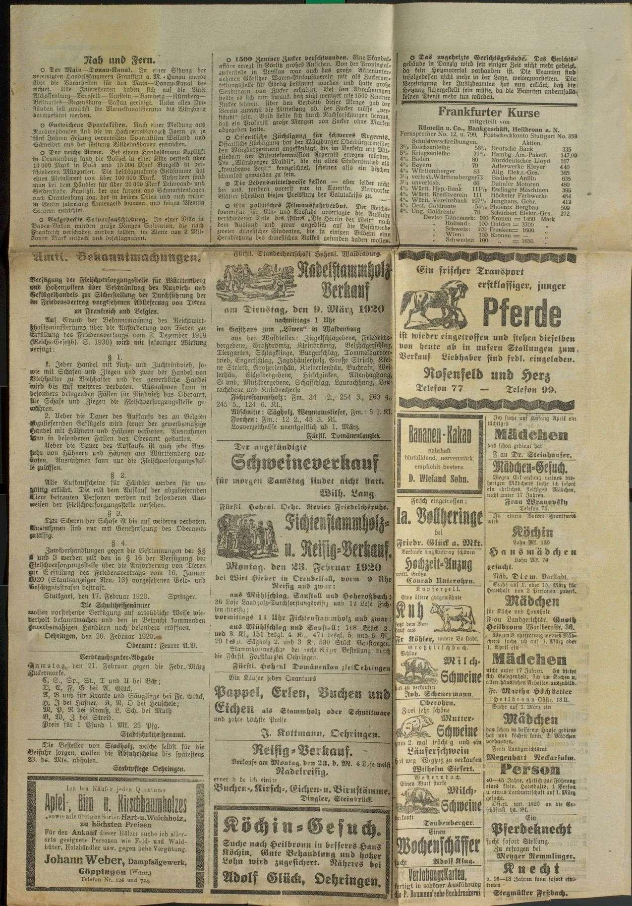 Friedensvertrag, Reparationen an Frankreich und Belgien, Ablieferung von Pferden, Schafen und Ziegen, Bild 3