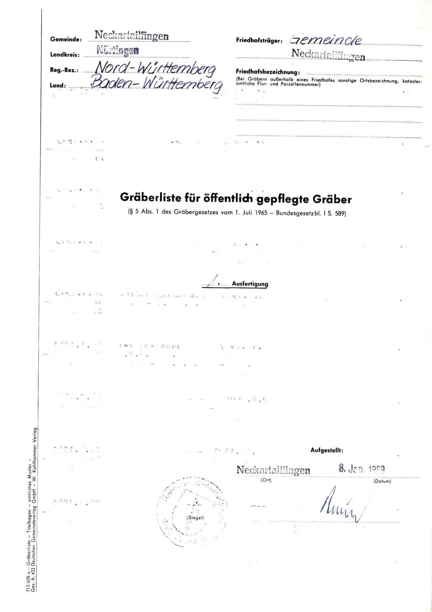 Gemeindefriedhof Neckartailfingen, Bild 1