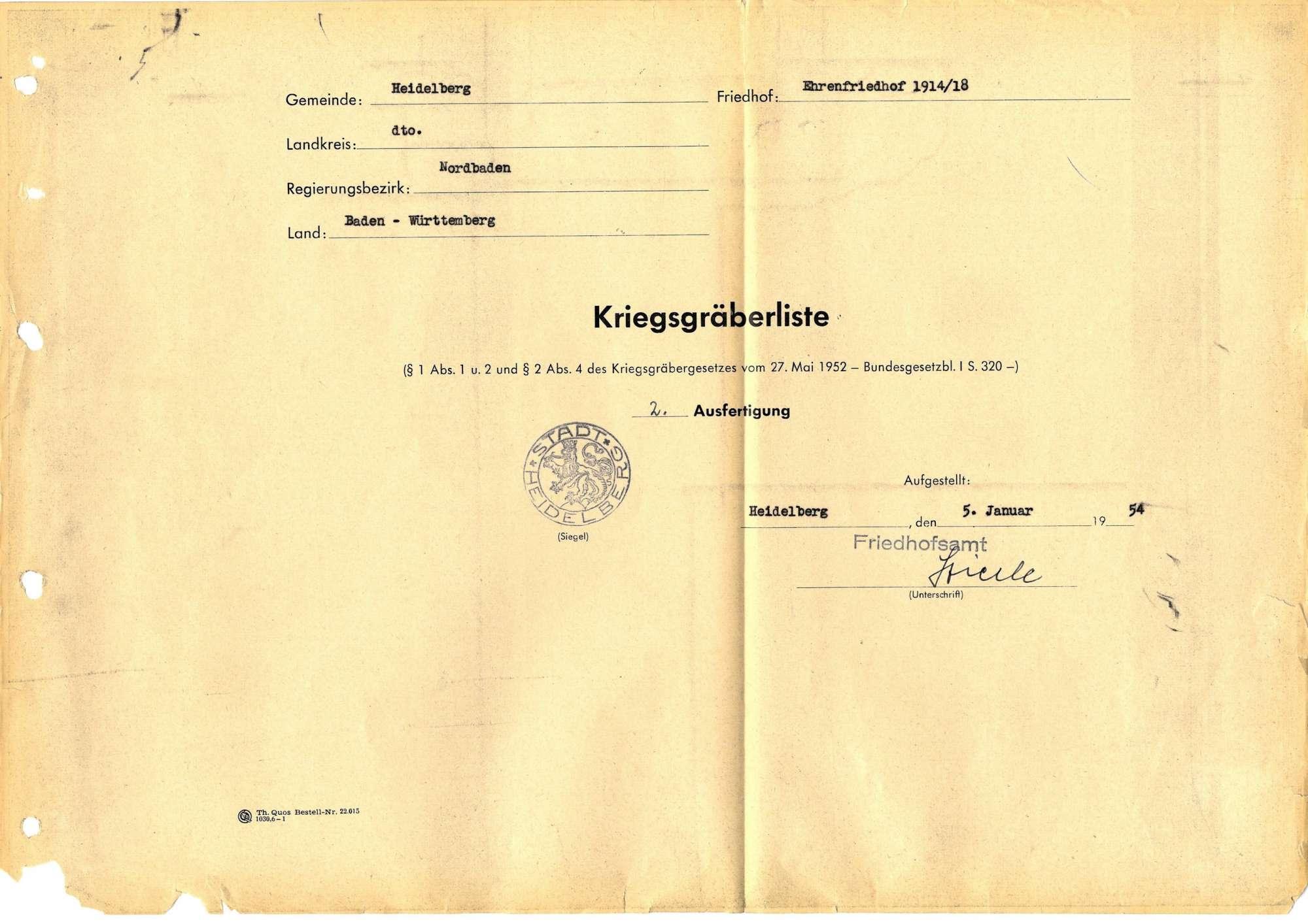Ehrenfriedhof 1914-18 zug. Heidelberg, Bild 1
