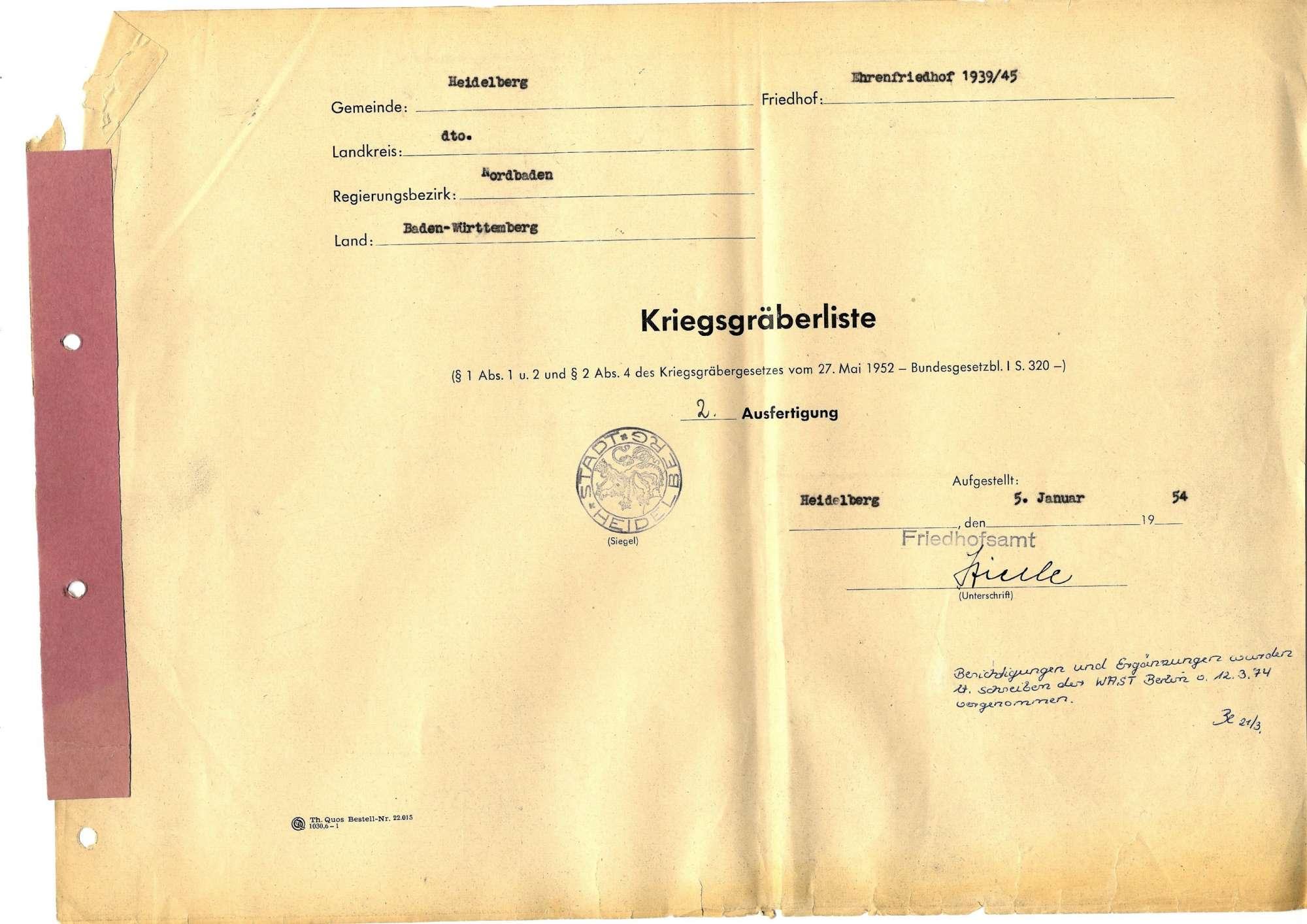 Ehrenfriedhof 1939-45 Heidelberg, Bild 1