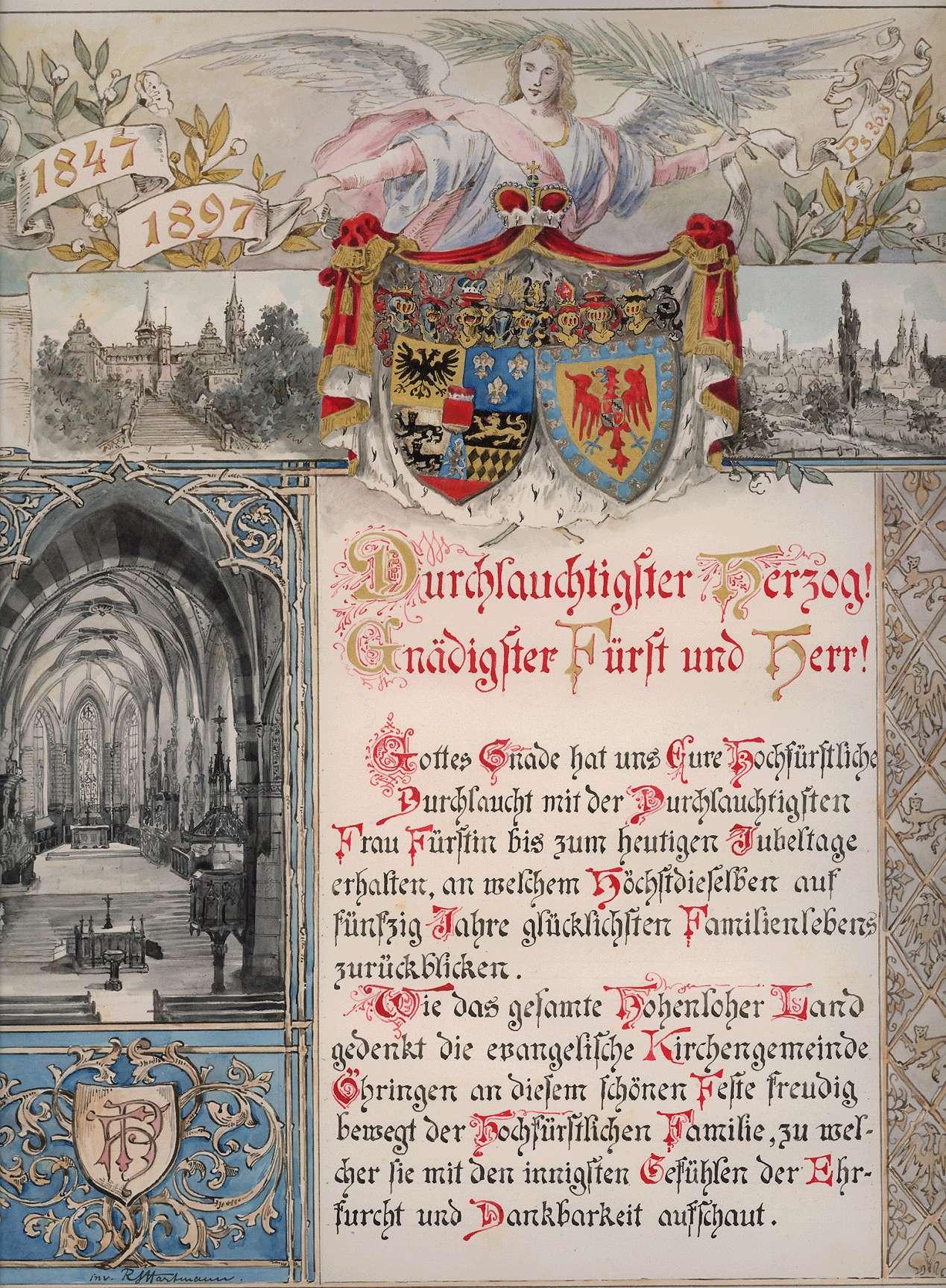 Glückwunschadresse zur Goldenen Hochzeit des Fürsten Hugo zu Hohenlohe-Oehringen, Herzog von Ujest, und seiner Gemahlin Pauline, geb. Fürstenberg, vom evangelischen Kirchengemeinderat Öhringen., Bild 1