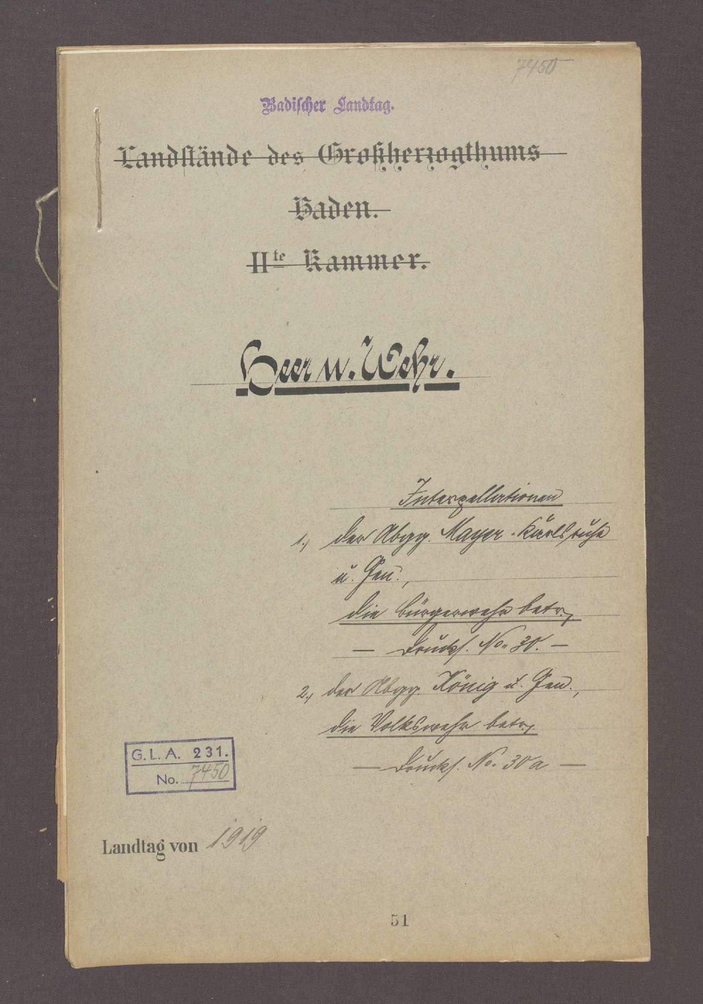 Interpellation 1) der Abg. Mayer, Karlsruhe und Gen., die Bürgerwehr betr. 2) der Abg. König und Gen., die Volkswehr betr., Bild 1