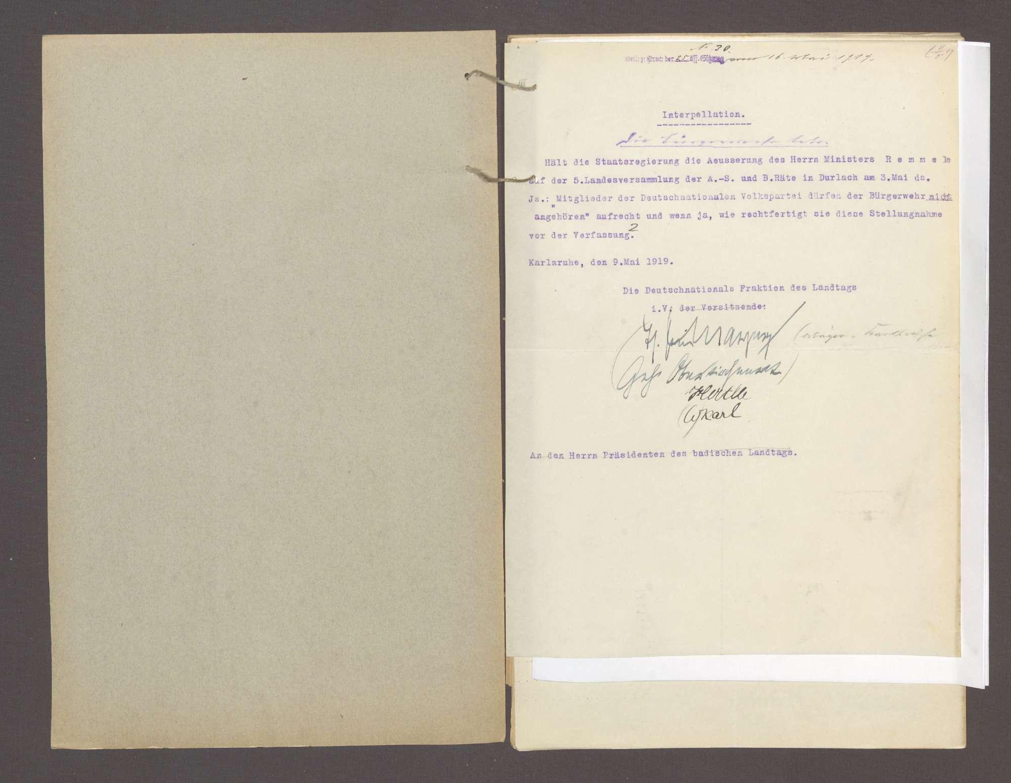 Interpellation 1) der Abg. Mayer, Karlsruhe und Gen., die Bürgerwehr betr. 2) der Abg. König und Gen., die Volkswehr betr., Bild 2