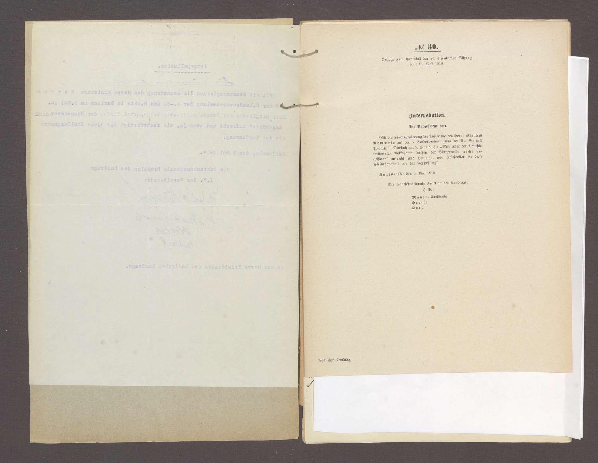 Interpellation 1) der Abg. Mayer, Karlsruhe und Gen., die Bürgerwehr betr. 2) der Abg. König und Gen., die Volkswehr betr., Bild 3