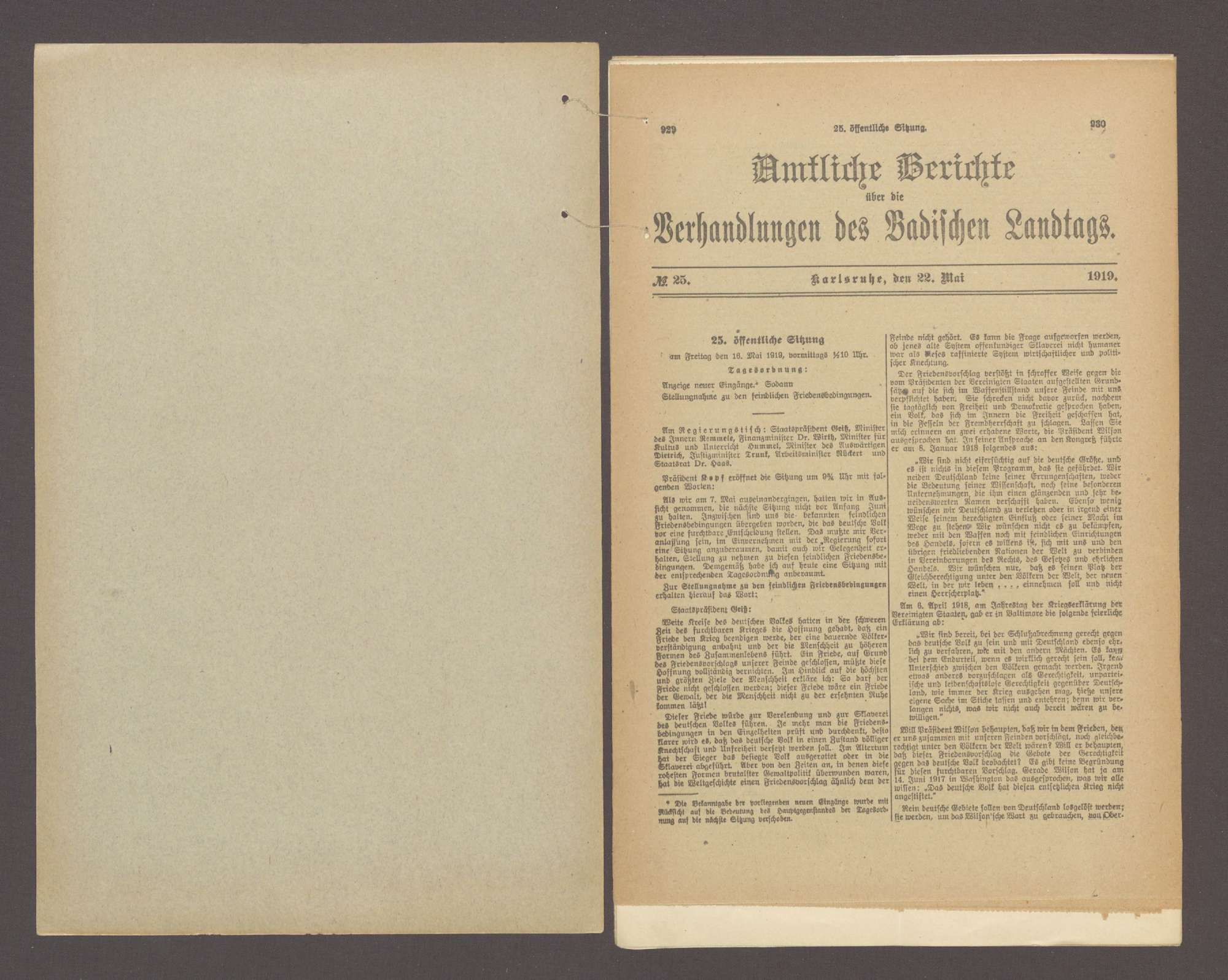 Stellungnahme des bad. Landtags zu den feindlichen Friedensbedingungen sowie Protest etc. gegen diese Bedingungen, Bild 2