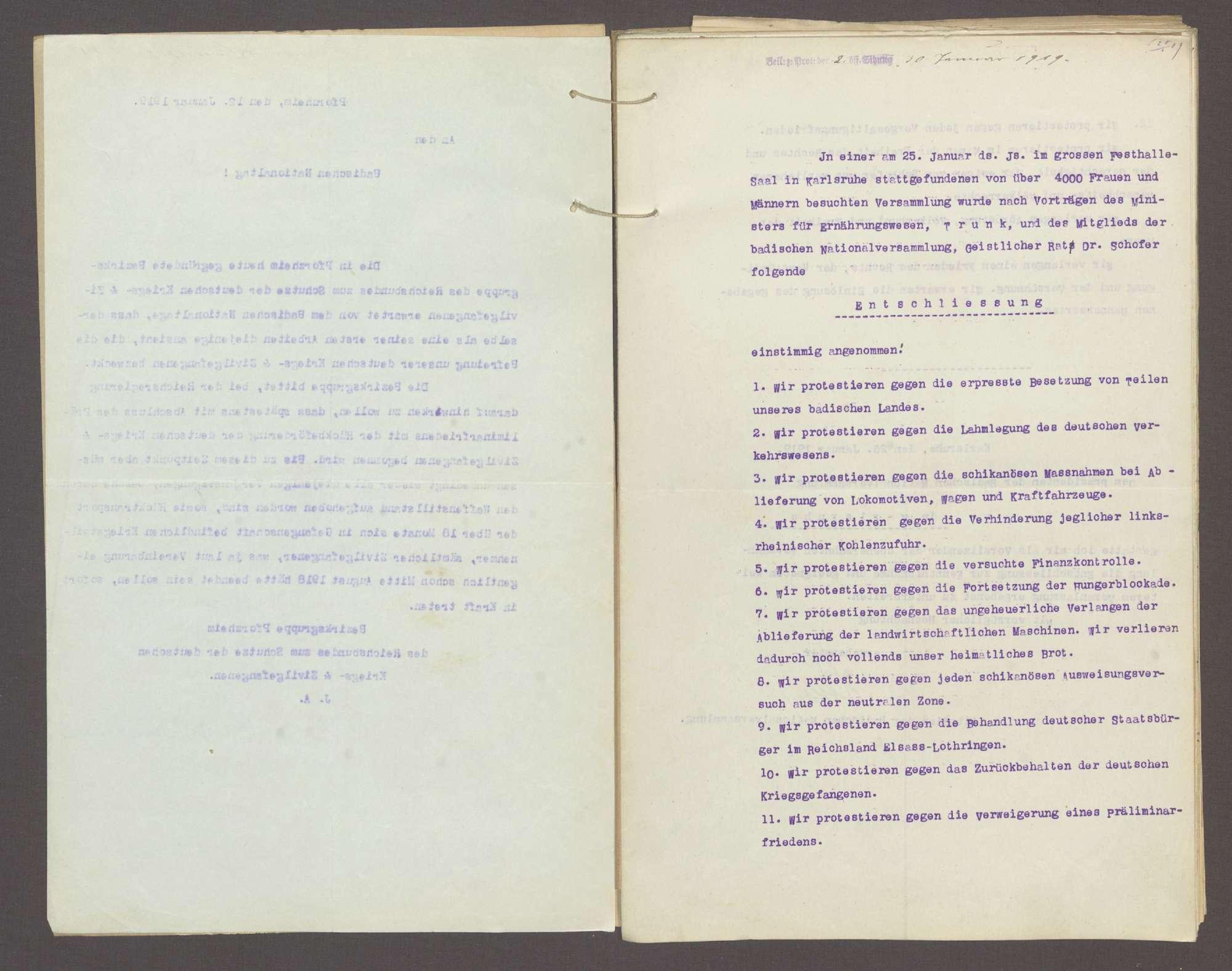 Entschließung auf Grund von Protesten gegen das Verhalten unserer Gegner in der Waffenstillstandsfrage, insbesondere auch im Betreff der Gefangenenbehandlung, Bild 3
