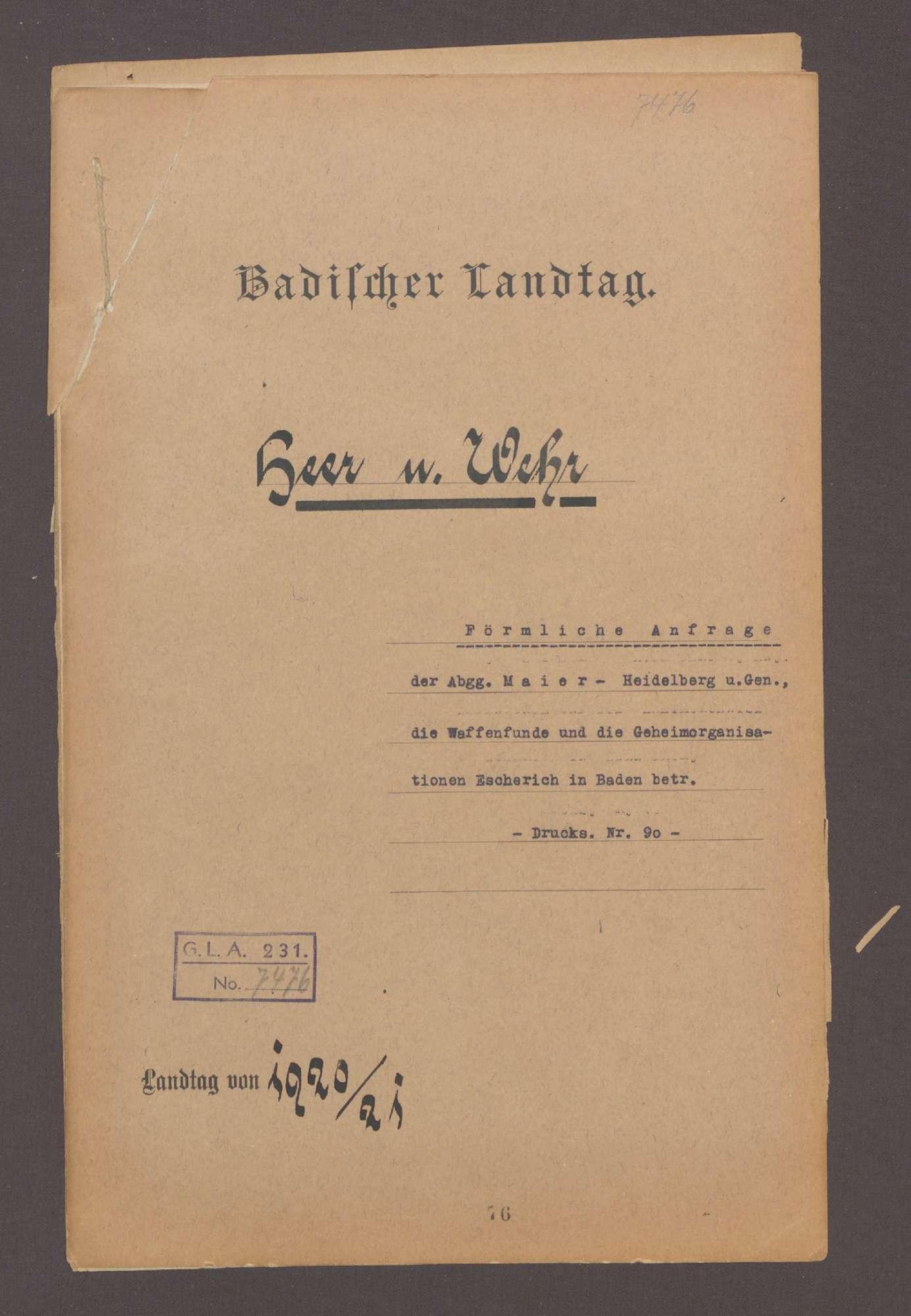 Förmliche Anfrage der Abg. Maier, Heidelberg und Gen. betreffend die Waffenfunde und die Geheimorganisation Escherich in Baden, Bild 1