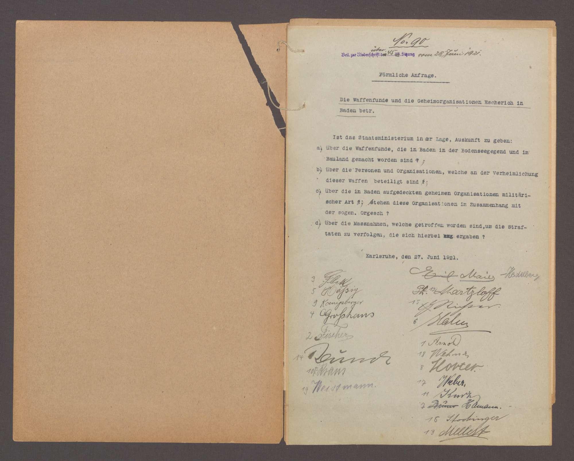 Förmliche Anfrage der Abg. Maier, Heidelberg und Gen. betreffend die Waffenfunde und die Geheimorganisation Escherich in Baden, Bild 2