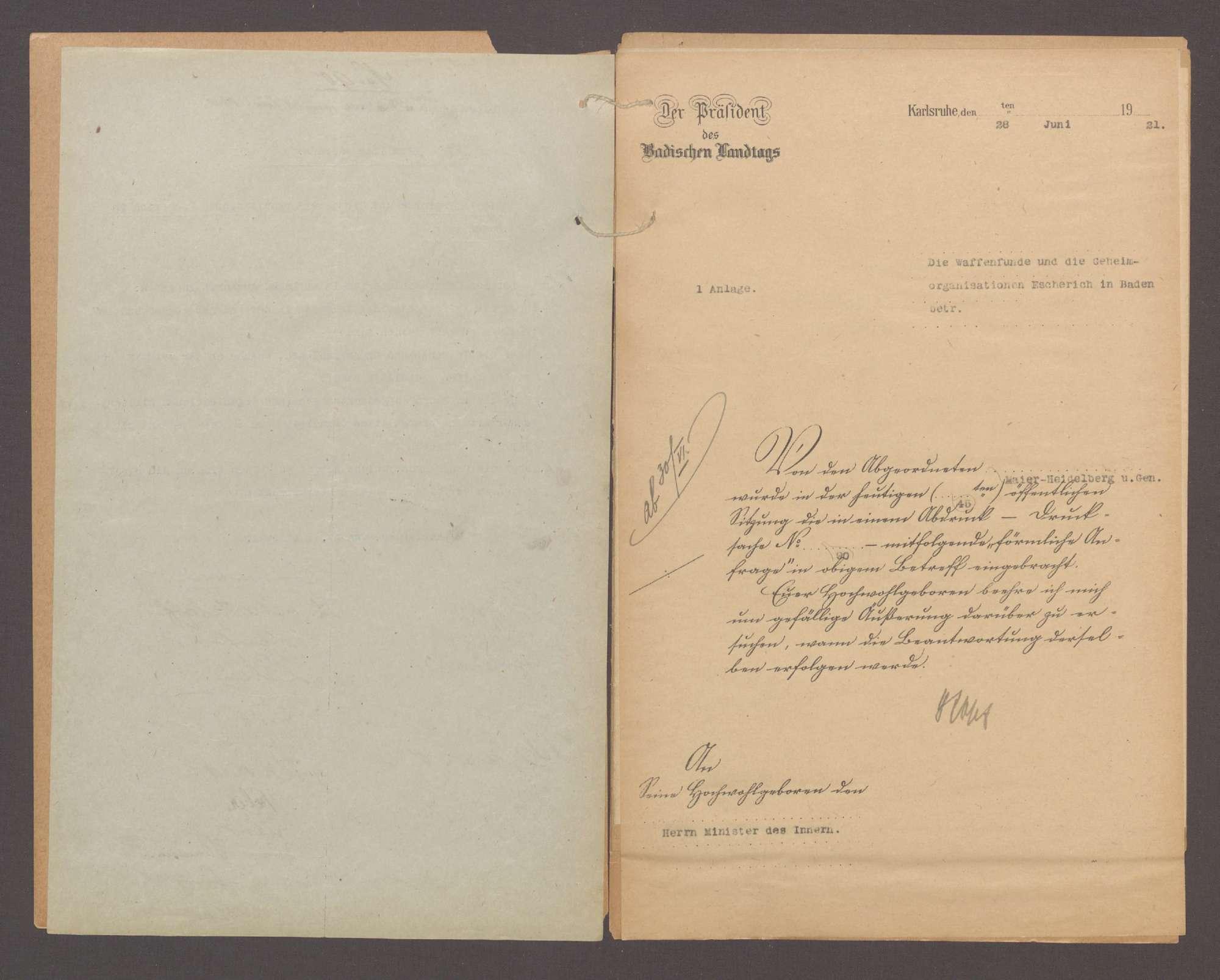 Förmliche Anfrage der Abg. Maier, Heidelberg und Gen. betreffend die Waffenfunde und die Geheimorganisation Escherich in Baden, Bild 3