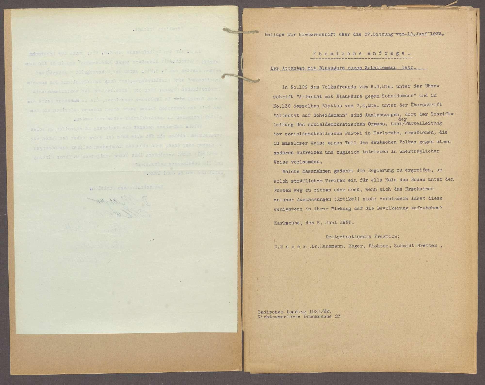 Förmliche Anfrage der Abg. D. Mayer (Karlsruhe) und Gen., das Attentat mit Blausäure gegen Scheidemann betr. -Nichtnumm. Drucks. 23-, Bild 3