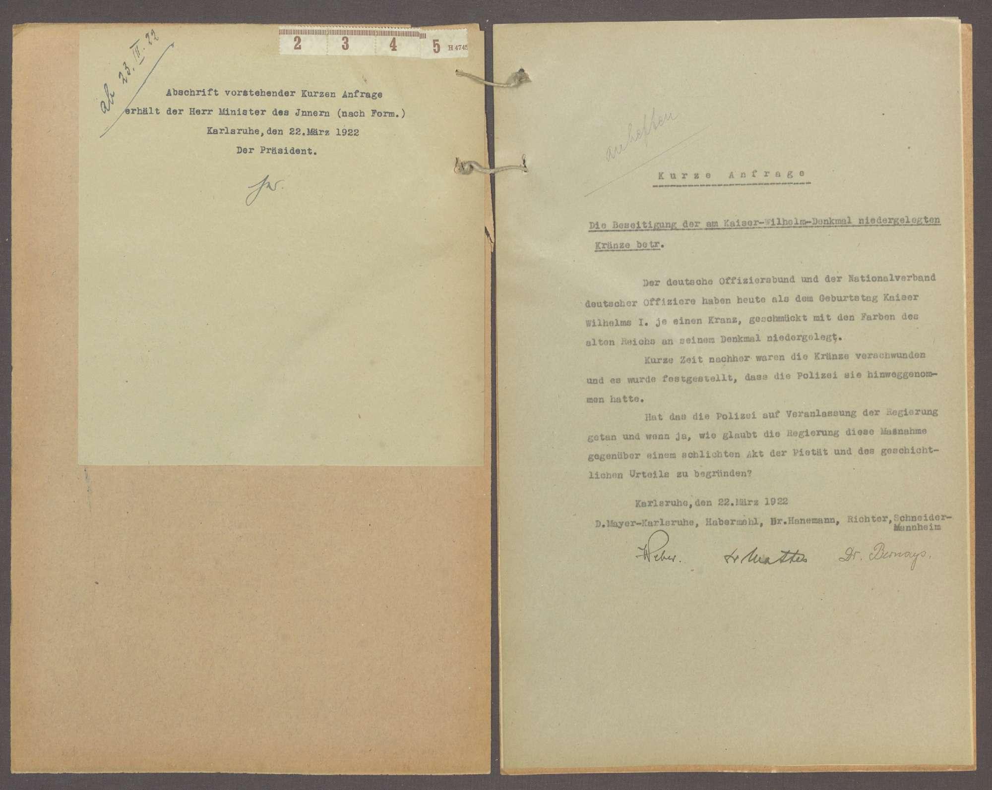 Kurze Anfrage der Abg. D. Mayer (Karlsruhe) u. Gen., die Beseitigung der am Kaiser-Wilhelm-Denkmal niedergelegten Kränze betr., Bild 3