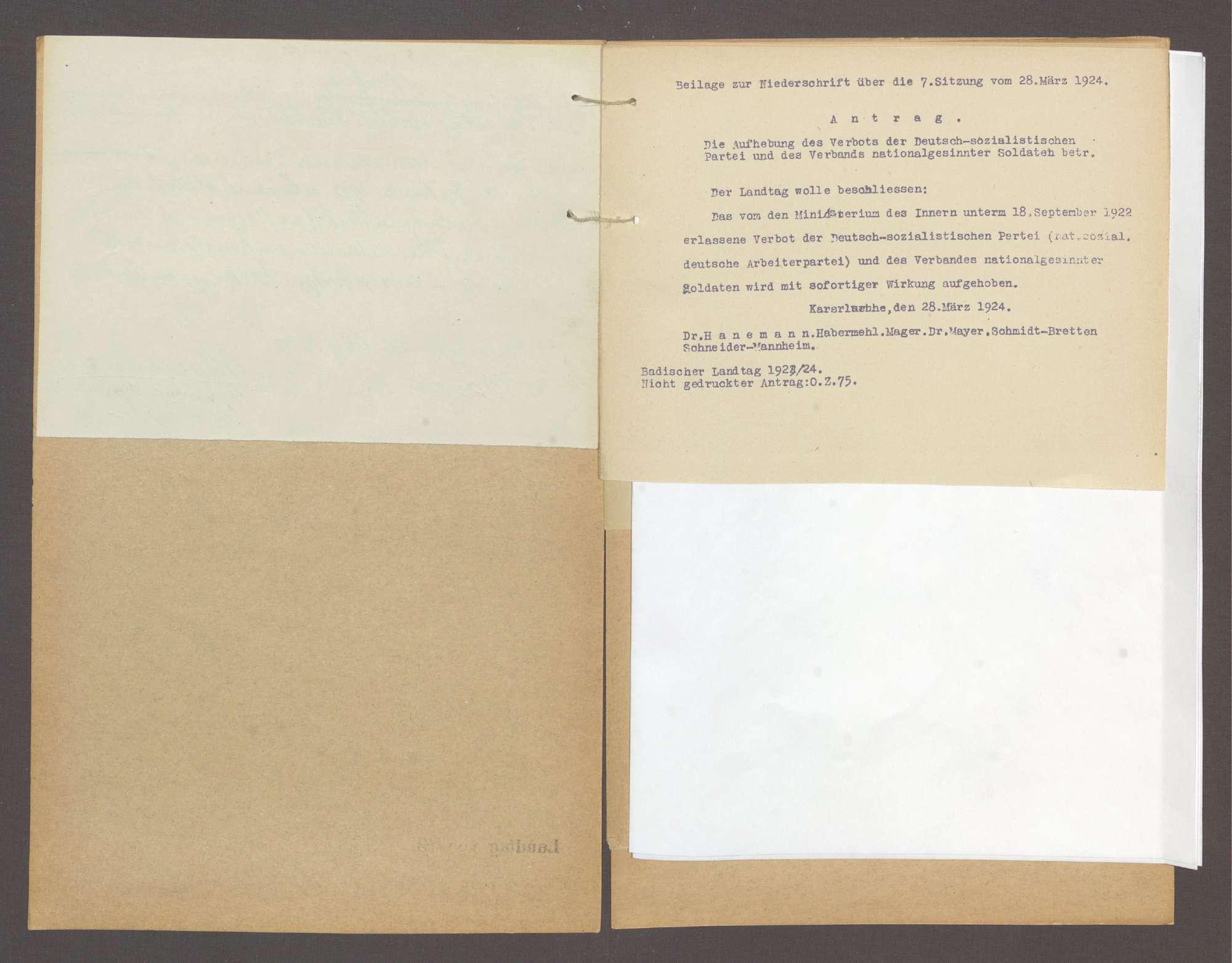 Antrag der Abg. Dr. Hanemann und Gen., die Aufhebung des Verbots der deutschsozialistischen Partei und des Verbands national gesinnter Soldaten betr. -Nicht gedr. Antrag. 75-, Bild 3