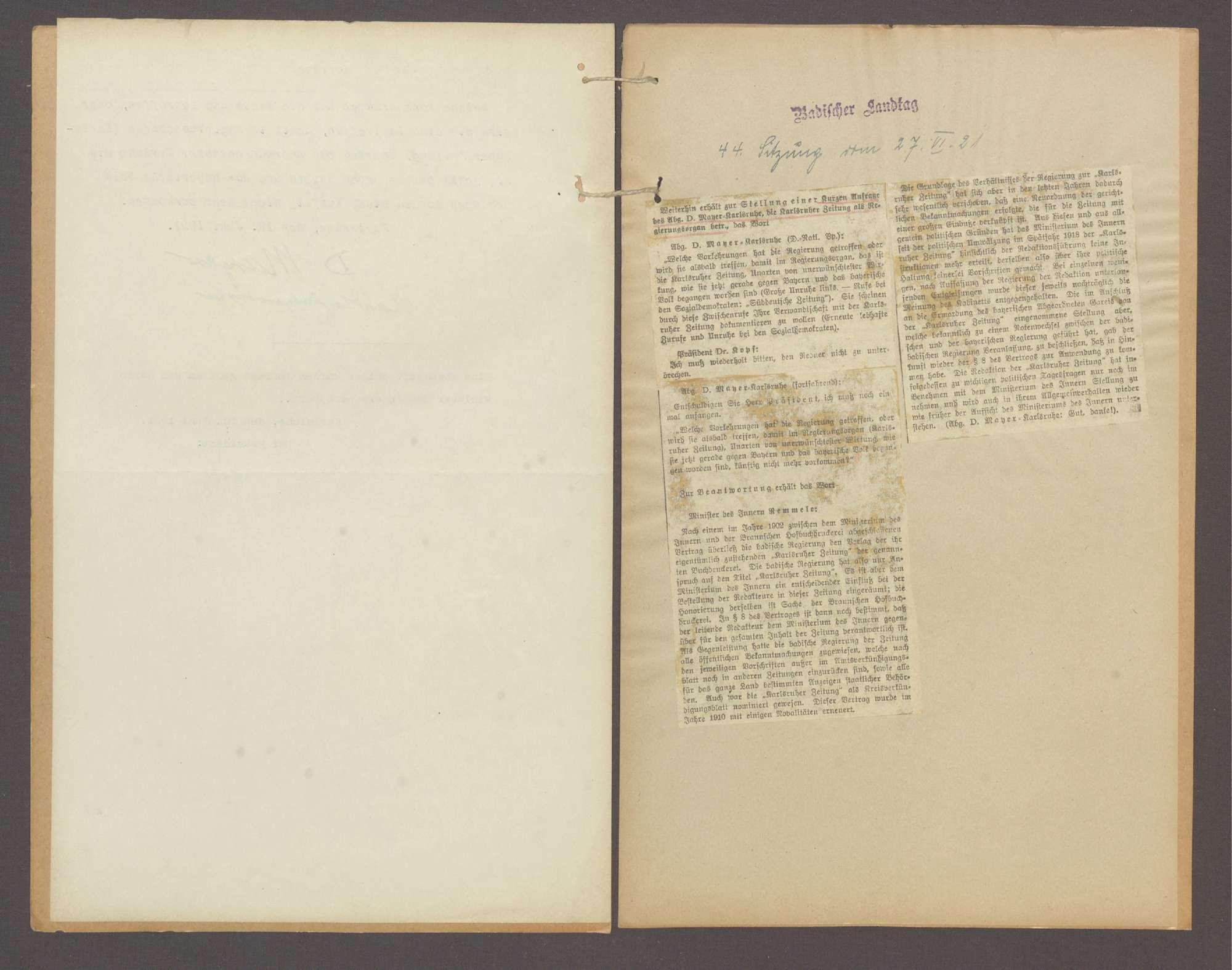 Kurze Anfrage des Abg. D. Mayer (Karlsruhe), die Karlsruher Zeitung als Regierungsorgan betr., Bild 3