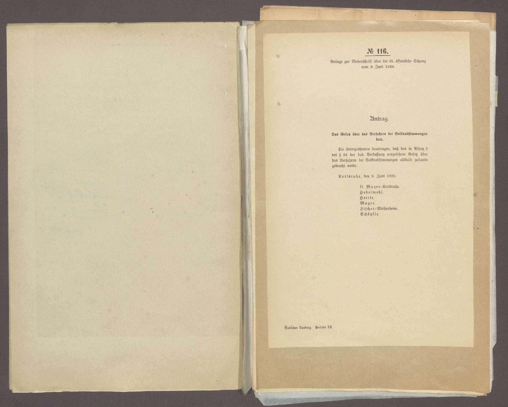 Antrag der Abg. D. Mayer (Karlsruhe) u. Gen., das Gesetz über das Verfahren bei Volksabstimmungen betr. (Landtagswahlgesetz) -Drucks. Nr. 116-116a-, Bild 3
