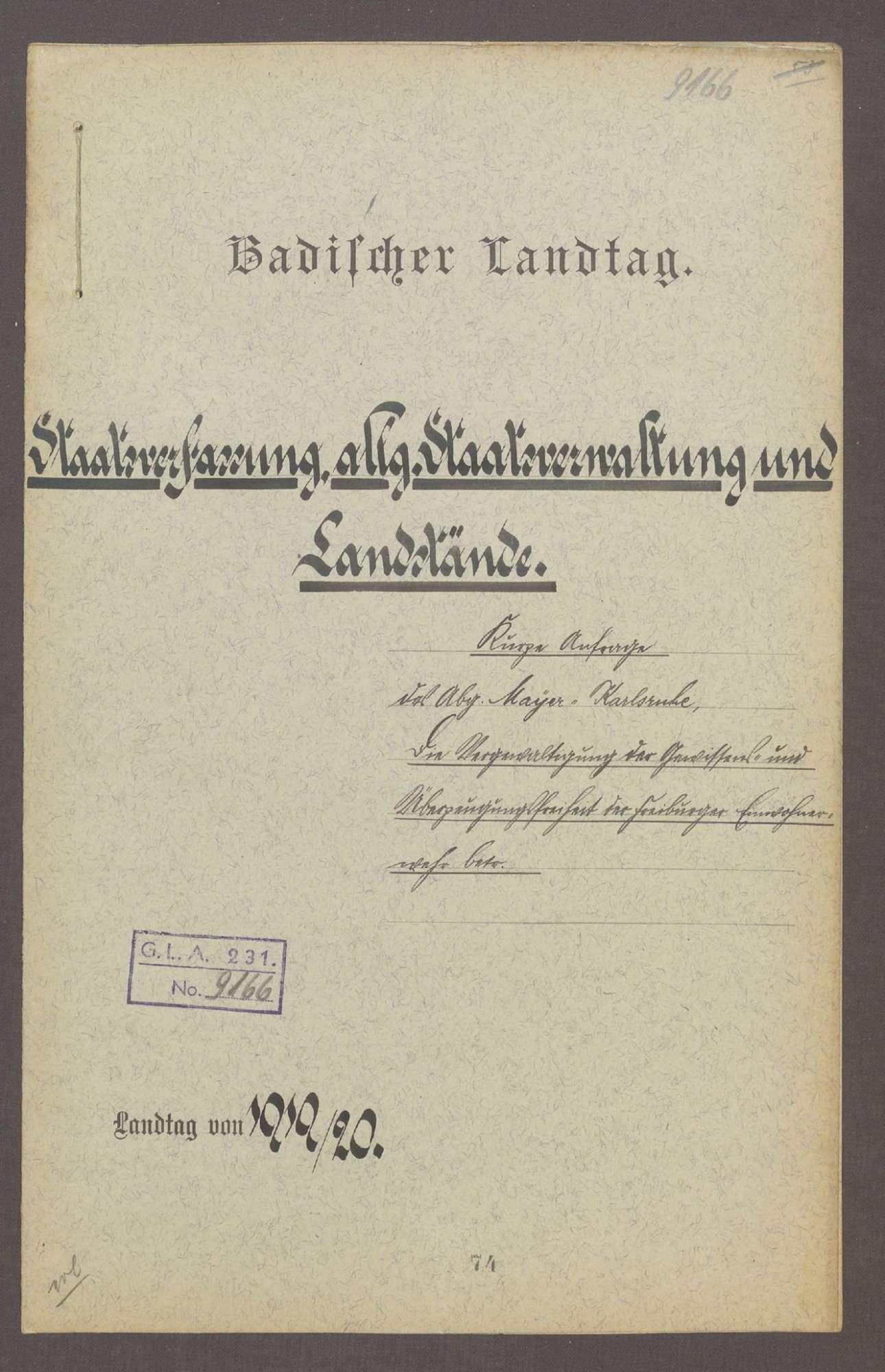 Kurze Anfrage des Abg. D. Mayer (Karlsruhe), die Vergewaltigung der Gewissens- u. Überzeugungsfreiheit der Freiburger Einwohnerwehr betr., Bild 1