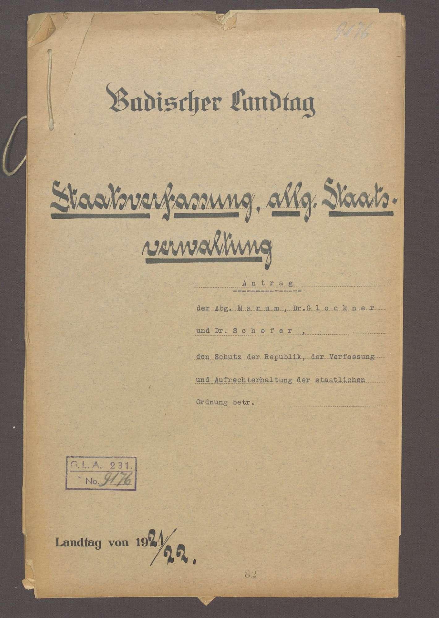 Antrag der Abg. Marum, Dr. Glockner und Dr. Schofer, den Schutz der Republik, der Verfassung und Aufrechterhaltung der staatl. Ordnung betr., Bild 1