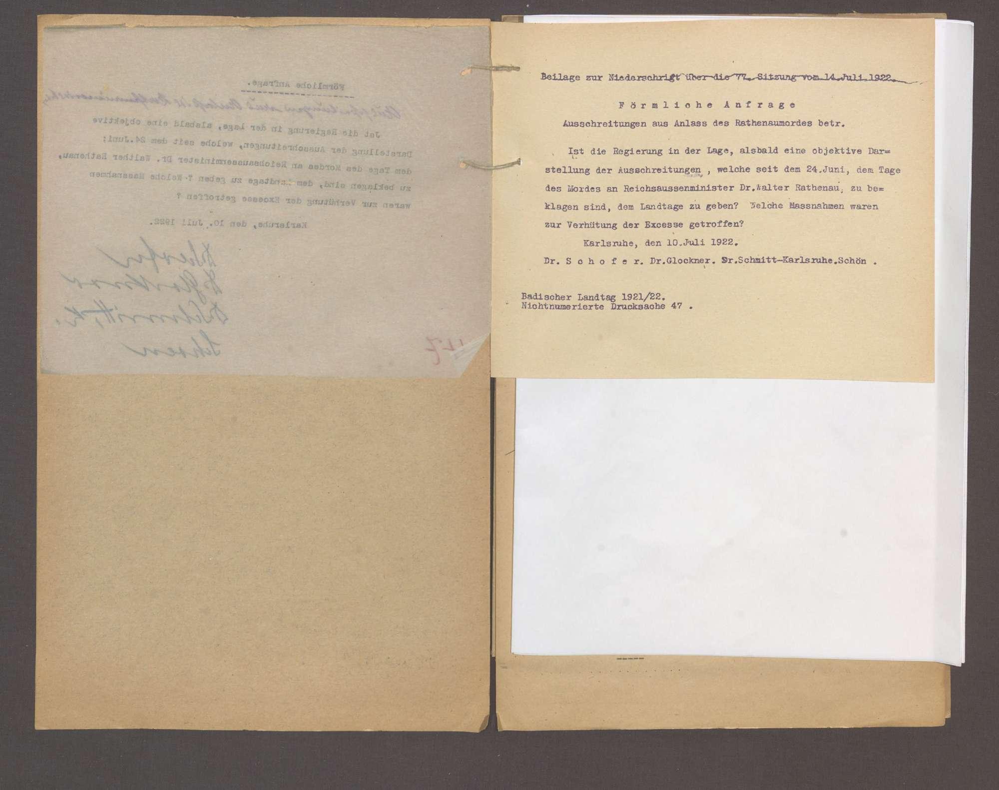 Förmliche Anfrage der Abg. Dr. Schofer und Gen., Ausschreitungen aus Anlaß des Rathenaumordes, Bild 3