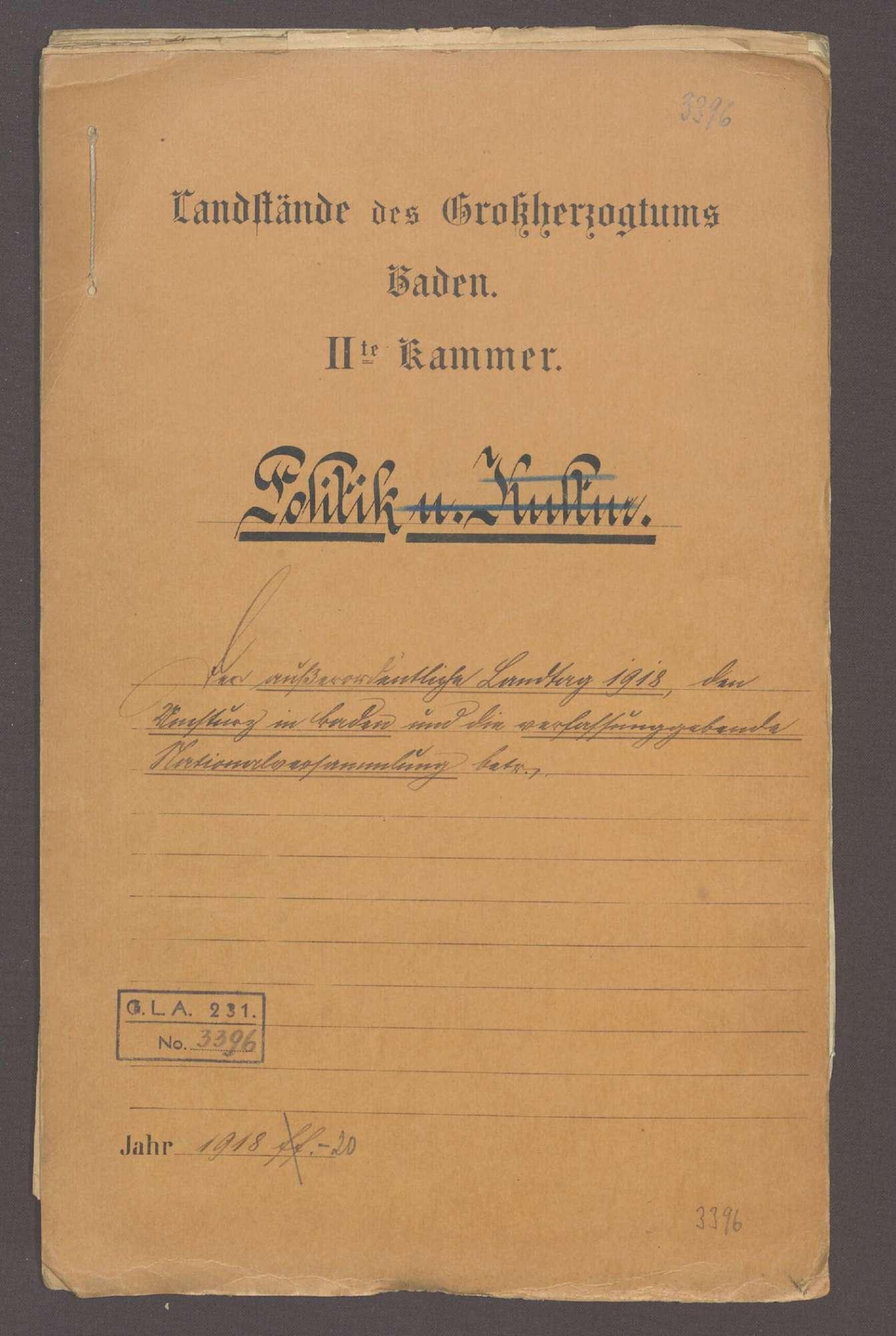 Der außerordentliche Landtag von 1918, der Umsturz in Baden und die verfassungsgebende Nationalversammlung, Bild 1