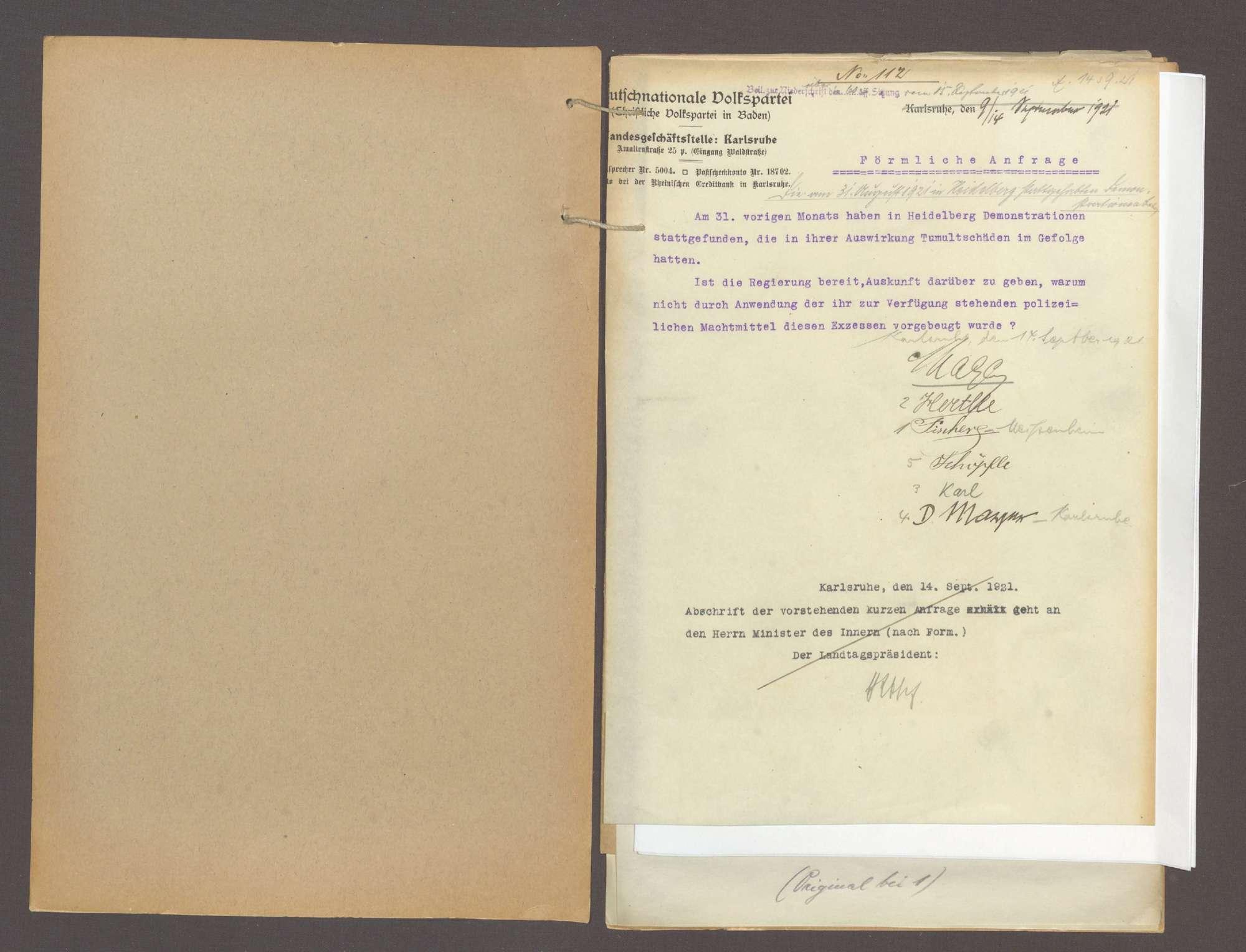 Förmliche Anfrage der Abg. Mager u. Gen., die am 31. August 1921 in Heidelberg stattgehabten Demonstrationen betr., über das Verbot der Süddeutschen Zeitung und das Verbot von Regimentsfeiern, Bild 2