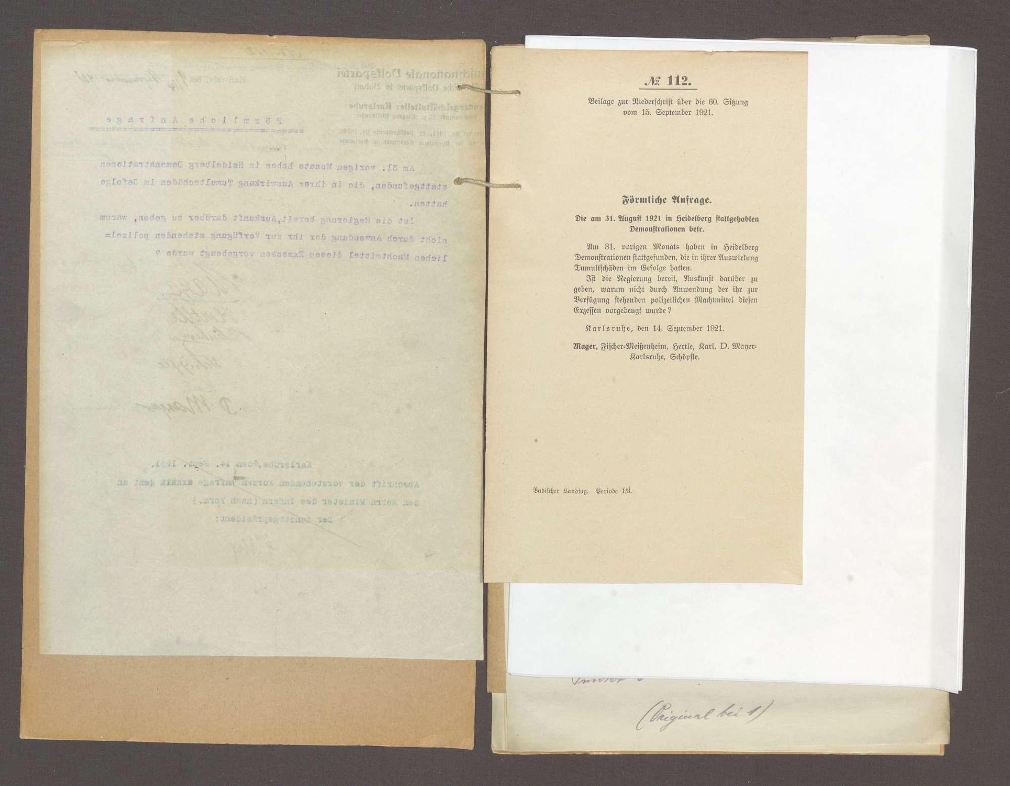Förmliche Anfrage der Abg. Mager u. Gen., die am 31. August 1921 in Heidelberg stattgehabten Demonstrationen betr., über das Verbot der Süddeutschen Zeitung und das Verbot von Regimentsfeiern, Bild 3