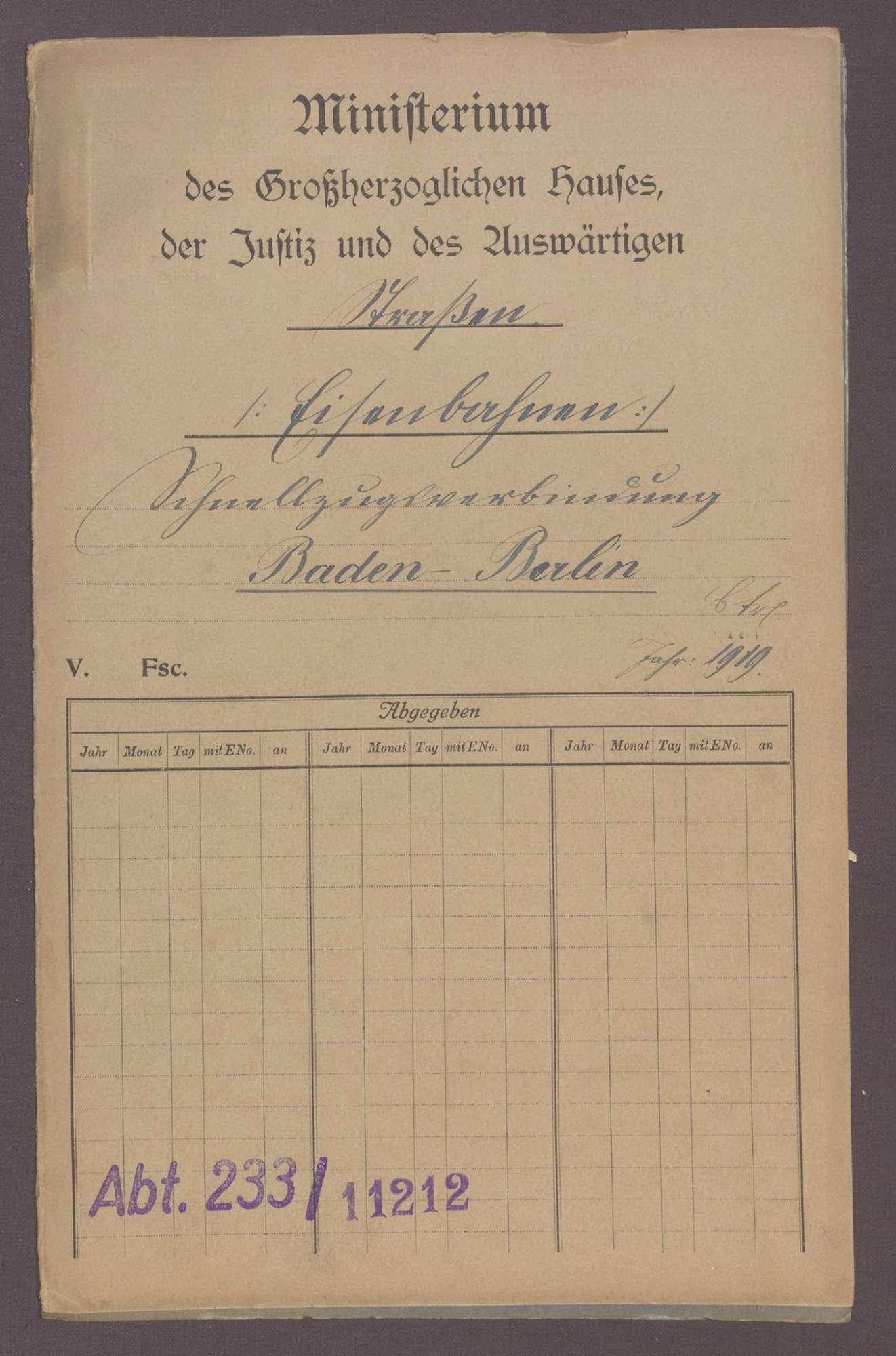 Die Schnellzugverbindung Baden-Berlin, Bild 1