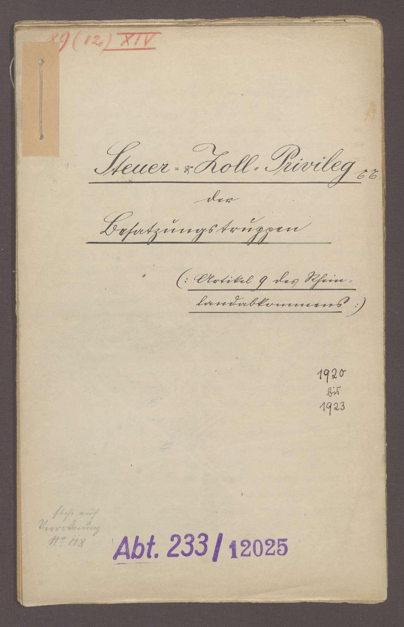 Steuer- und Zollprivileg der Besatzungstruppen (Artikel 9 des Rheinlandabkommens), Bild 1