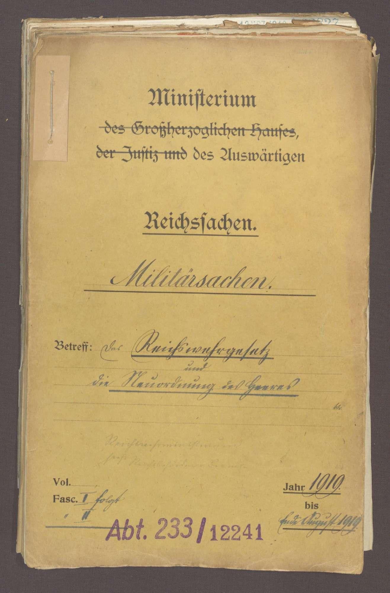 Das Reichswehrgesetz und die Neuordnung des Heeres (I), Bild 1