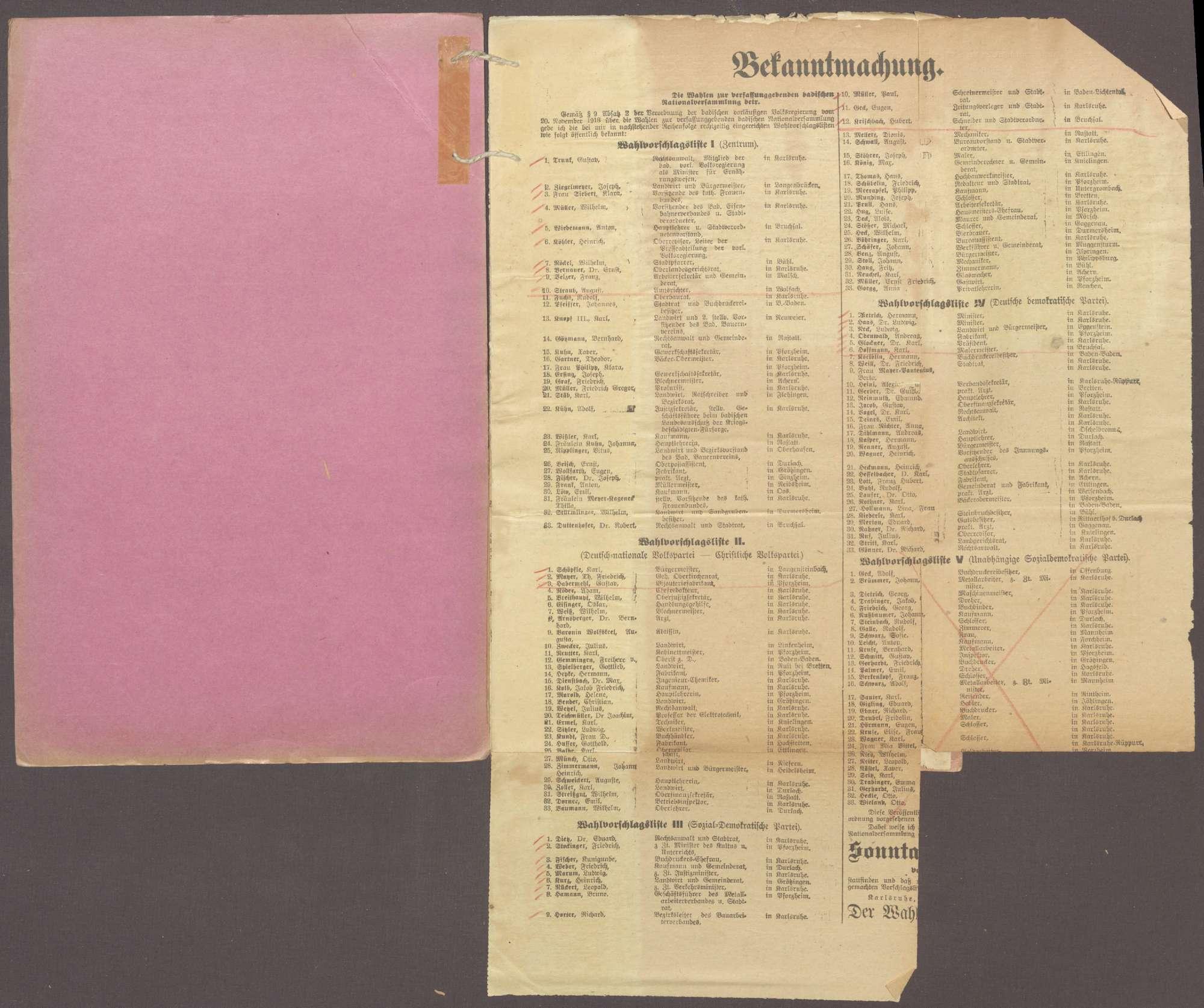 Wahlen zur badischen Nationalversammlung: Wahlvorschläge, Wahlergebnisse, Wahlprüfungen und Wahlproteste (nur Druckschriften und Abschriften), Bild 2