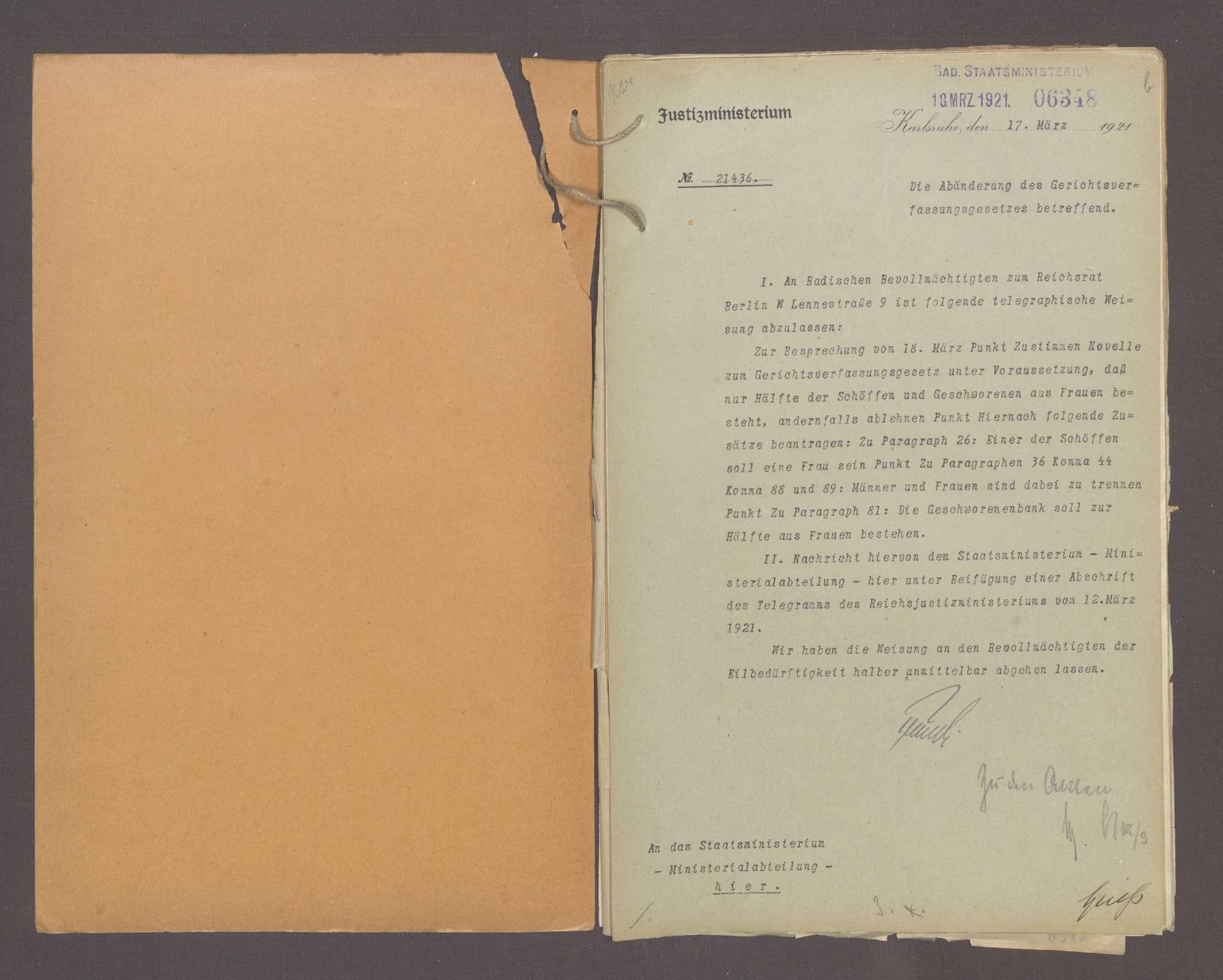Die Gerichtsverfassung, hier: Zulassung der Frauen zum Richteramt, Bild 2