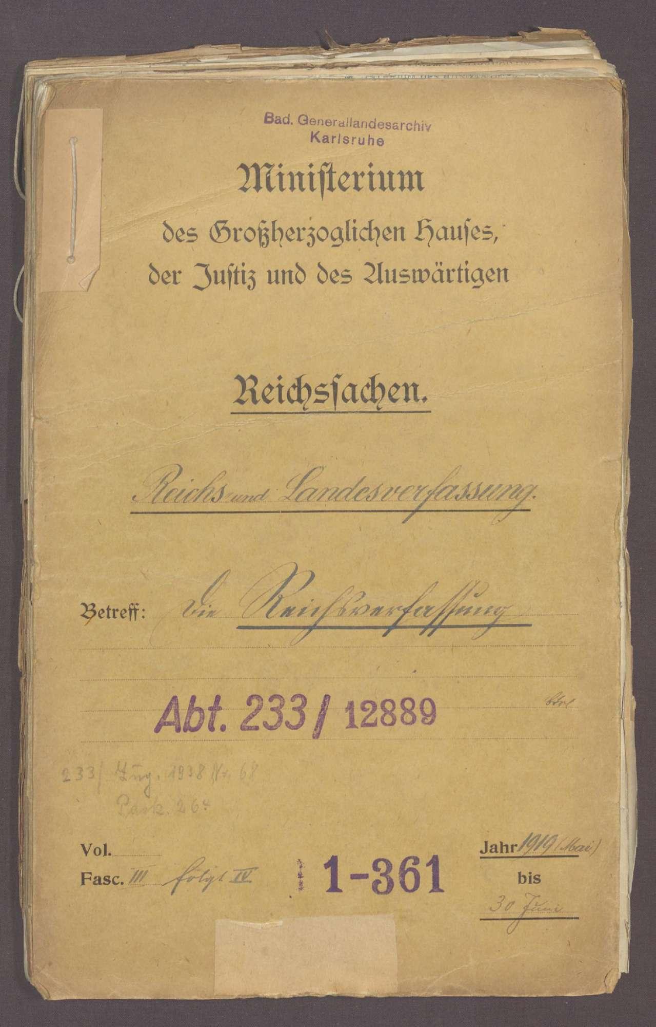 Die Reichsverfassung und die bayerischen und badischen Denkschriften zur Reform der Verfassung (III), Bild 1
