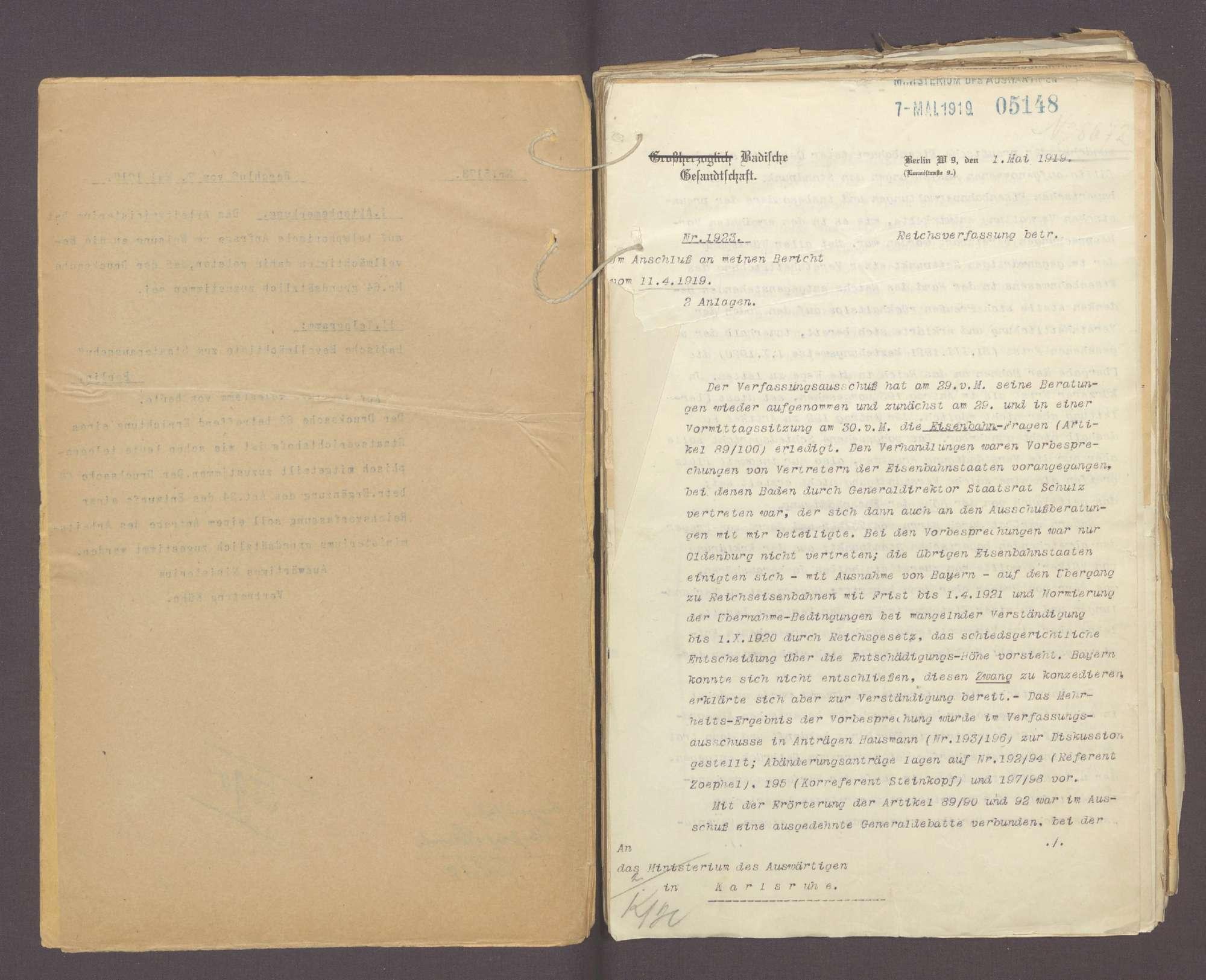 Die Reichsverfassung und die bayerischen und badischen Denkschriften zur Reform der Verfassung (III), Bild 3