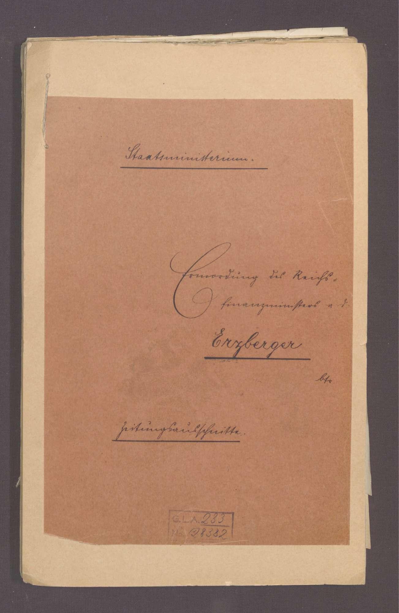 Zeitungsausschnitte zur Ermordung des Reichsfinanzmininsters a. D. Erzberger, Bild 1