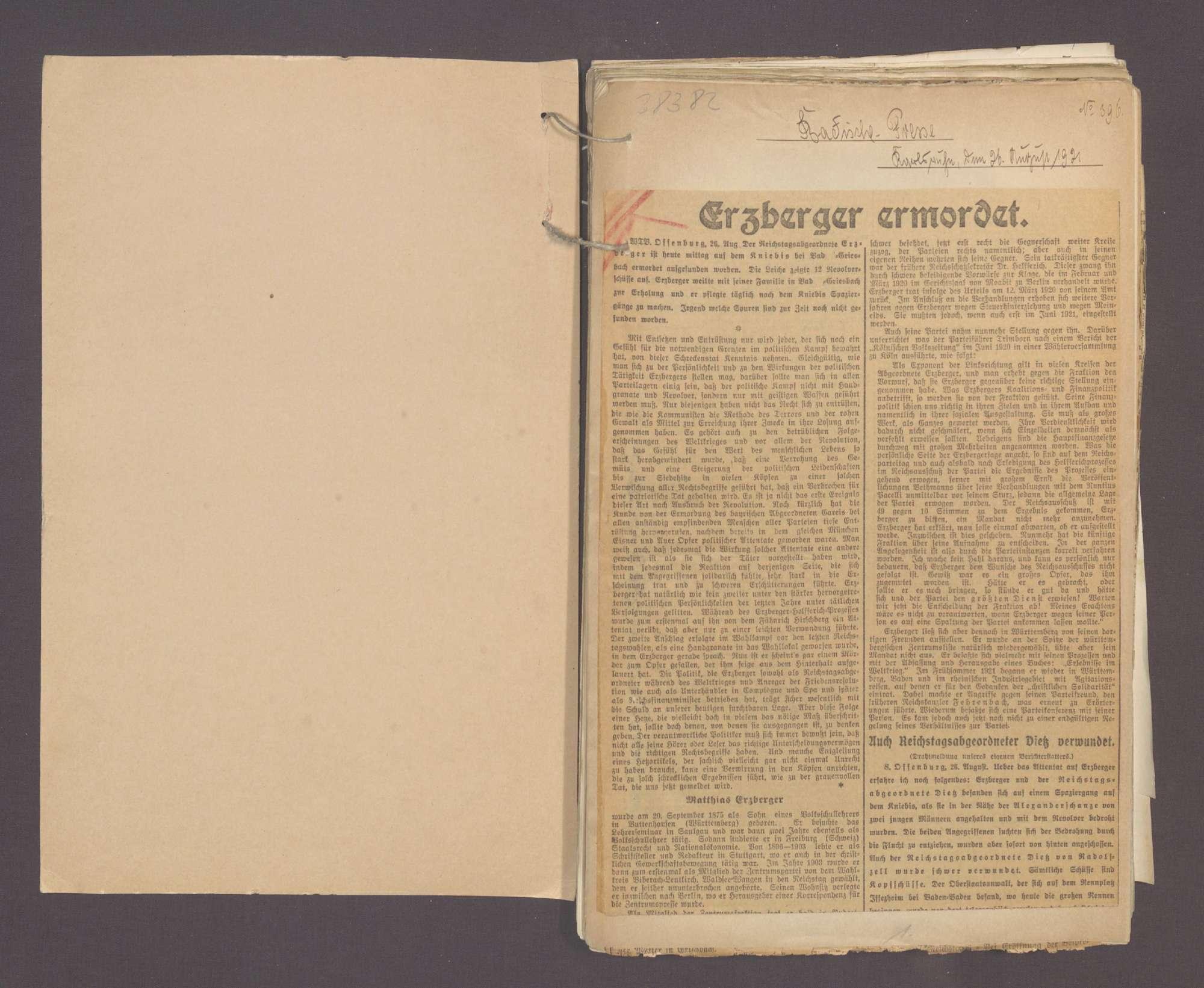 Zeitungsausschnitte zur Ermordung des Reichsfinanzmininsters a. D. Erzberger, Bild 2