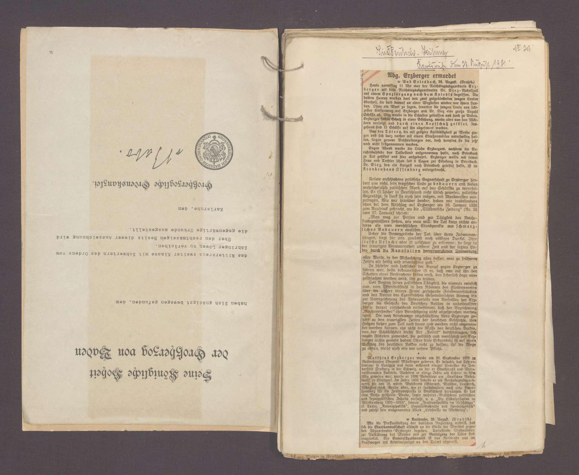 Zeitungsausschnitte zur Ermordung des Reichsfinanzmininsters a. D. Erzberger, Bild 3