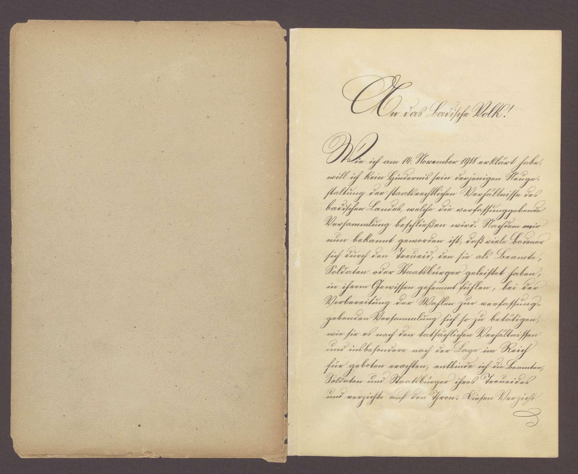 Urkunde über den Thronverzicht Seiner Königlichen Hoheit des Großherzogs Friedrich und Seiner Großherzoglichen Hoheit des Prinzen Max von Baden (22. November 1918), Bild 3