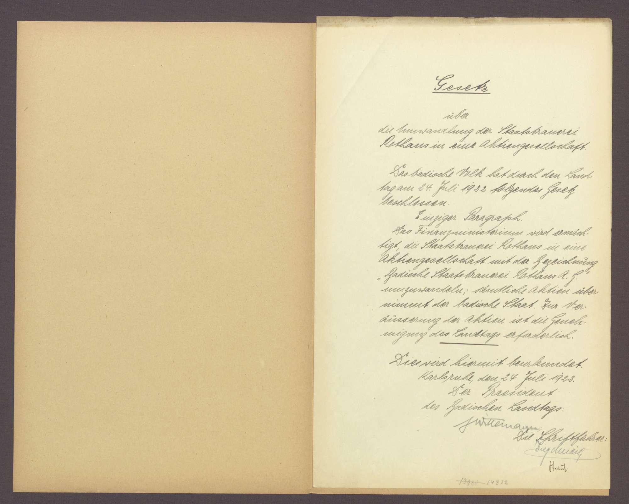 Gesetz über die Umwandlung der Staatsbrauerei Rothaus in eine Aktiengesellschaft (24. Juli 1922), Bild 2