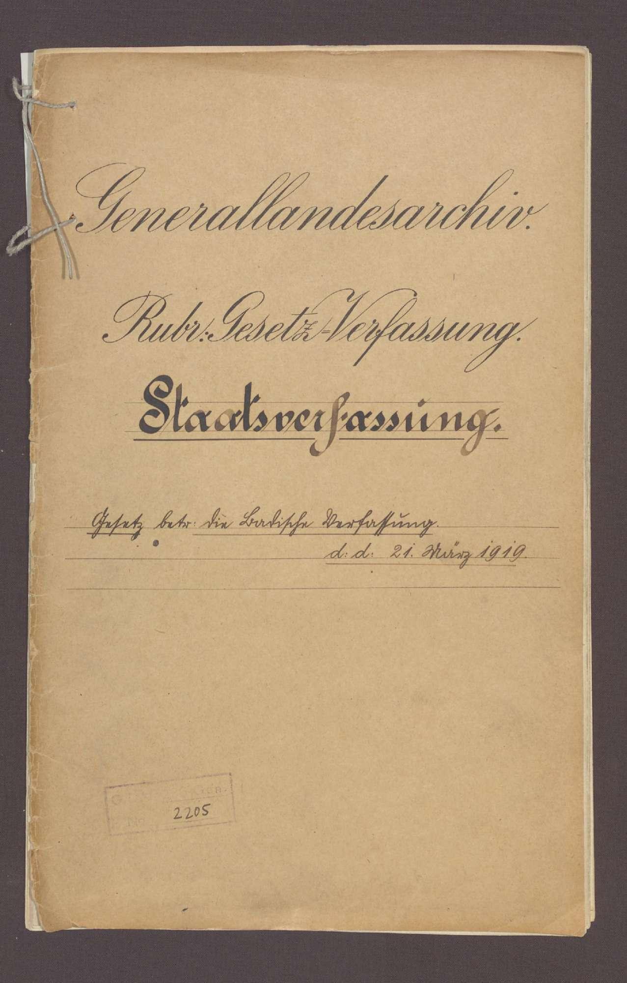 Gesetz über die badische Verfassung (21. März 1919), Bild 1